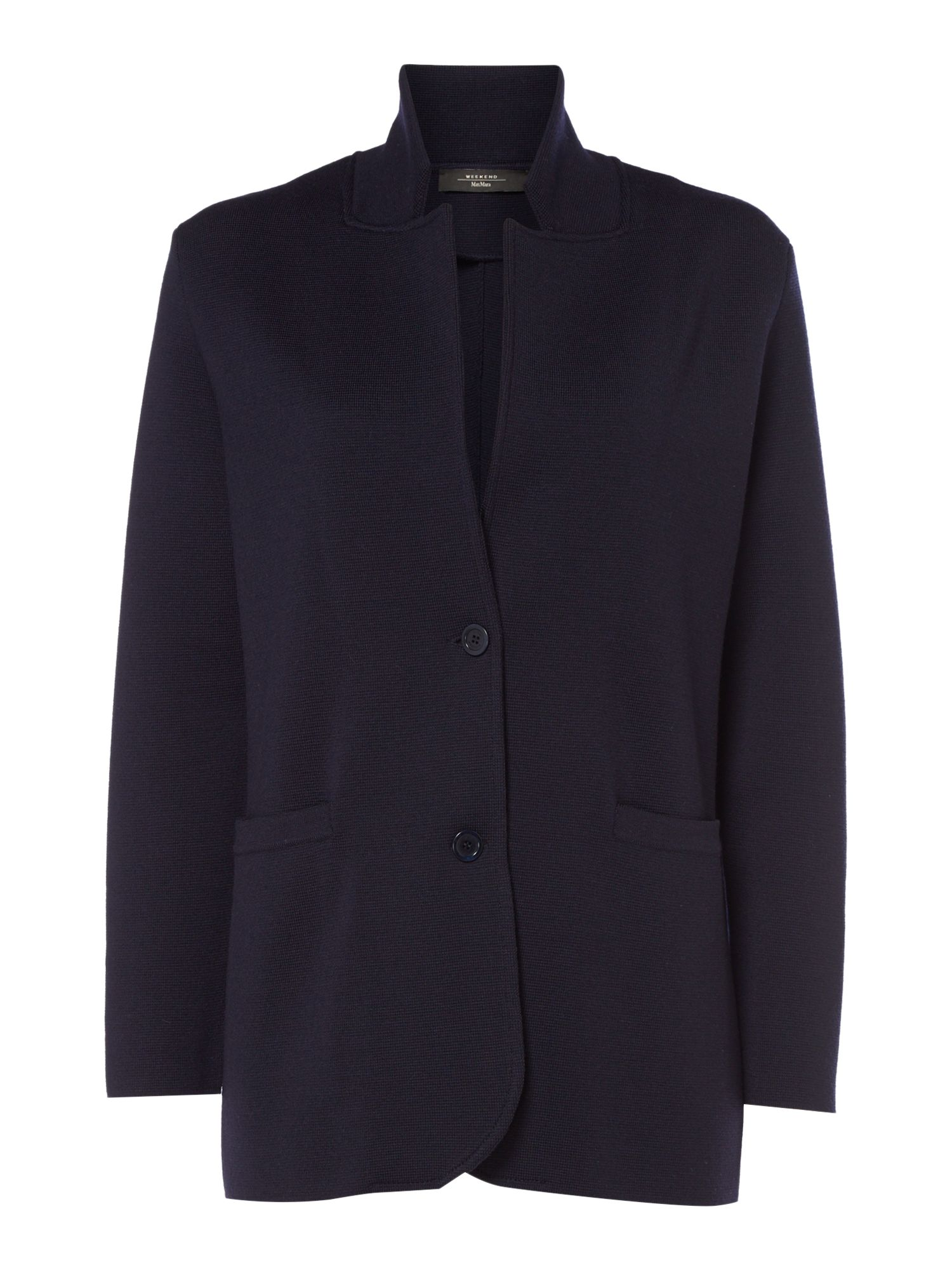 Max Mara Weekend Alacre Long Sleeve Knitted Blazer, Midnight Blue