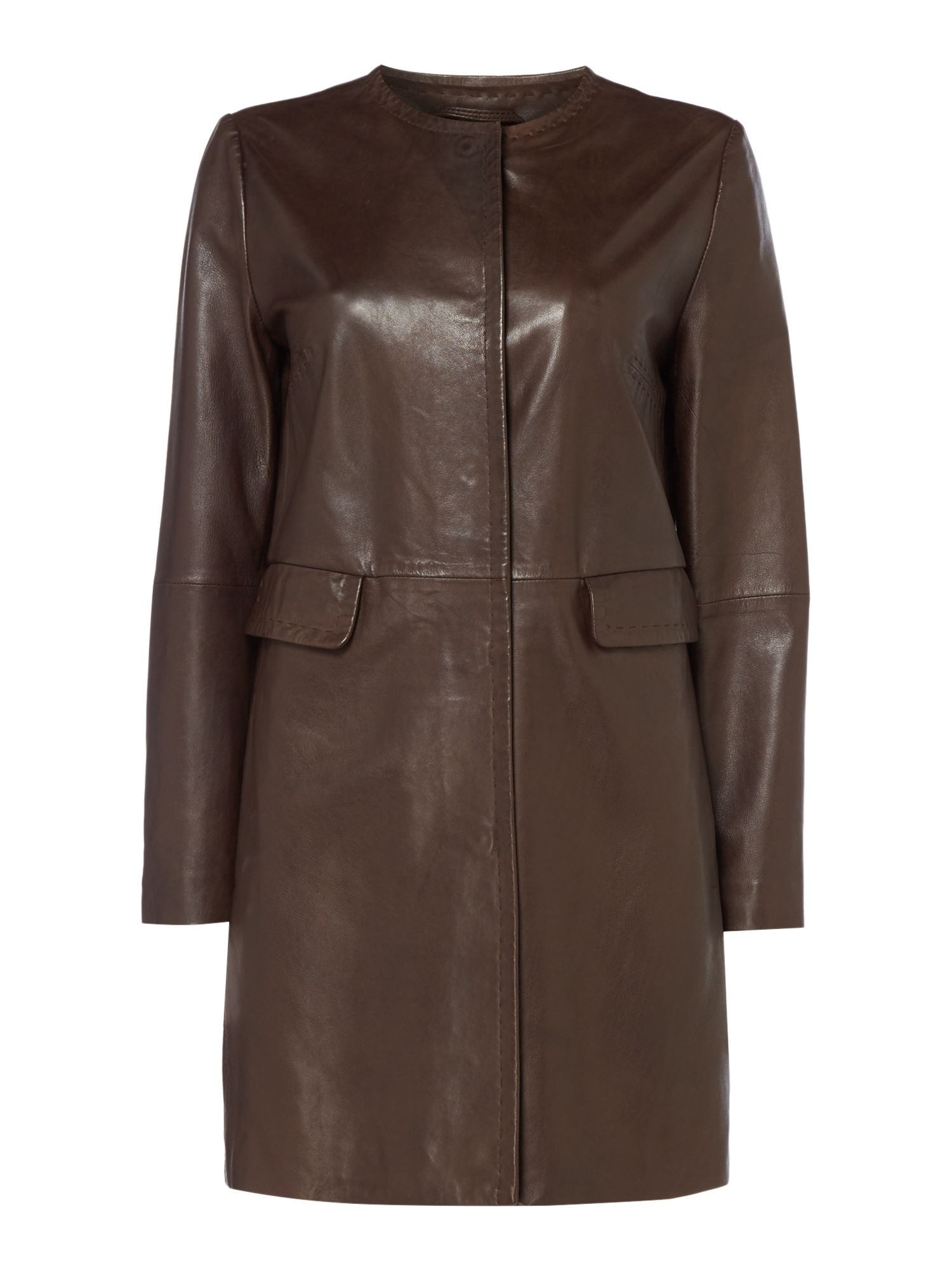 Max Mara Weekend Maine Leather Front Pocket Jacket, Dark Brown
