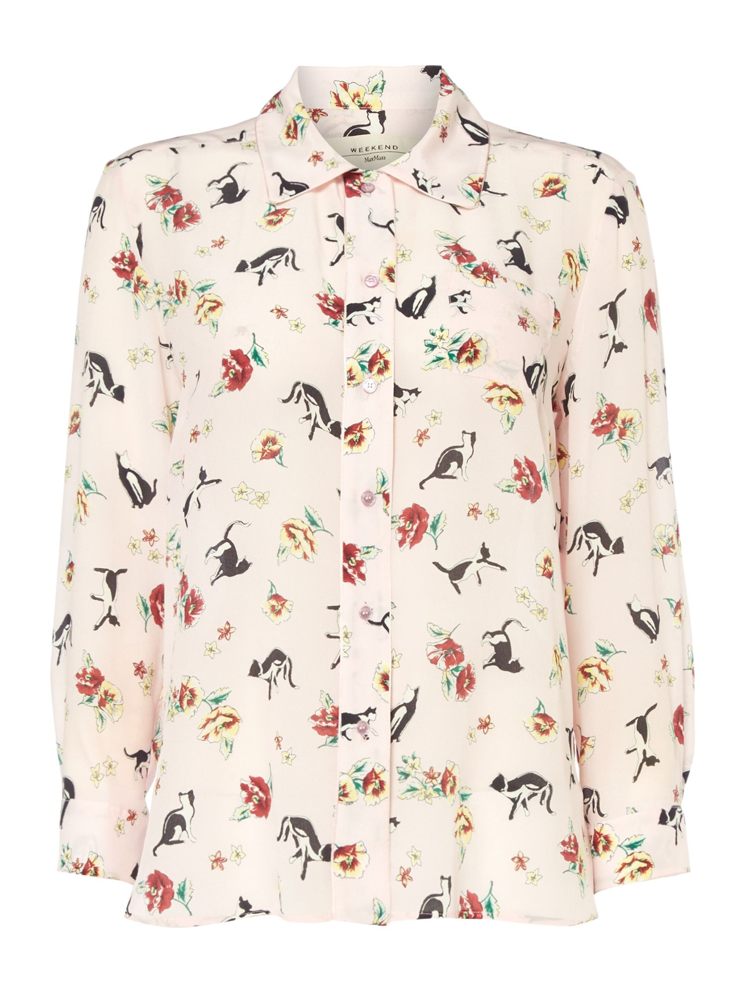 Max Mara Weekend Aeroso Long Sleeve Silk Cat Print Shirt, Pink