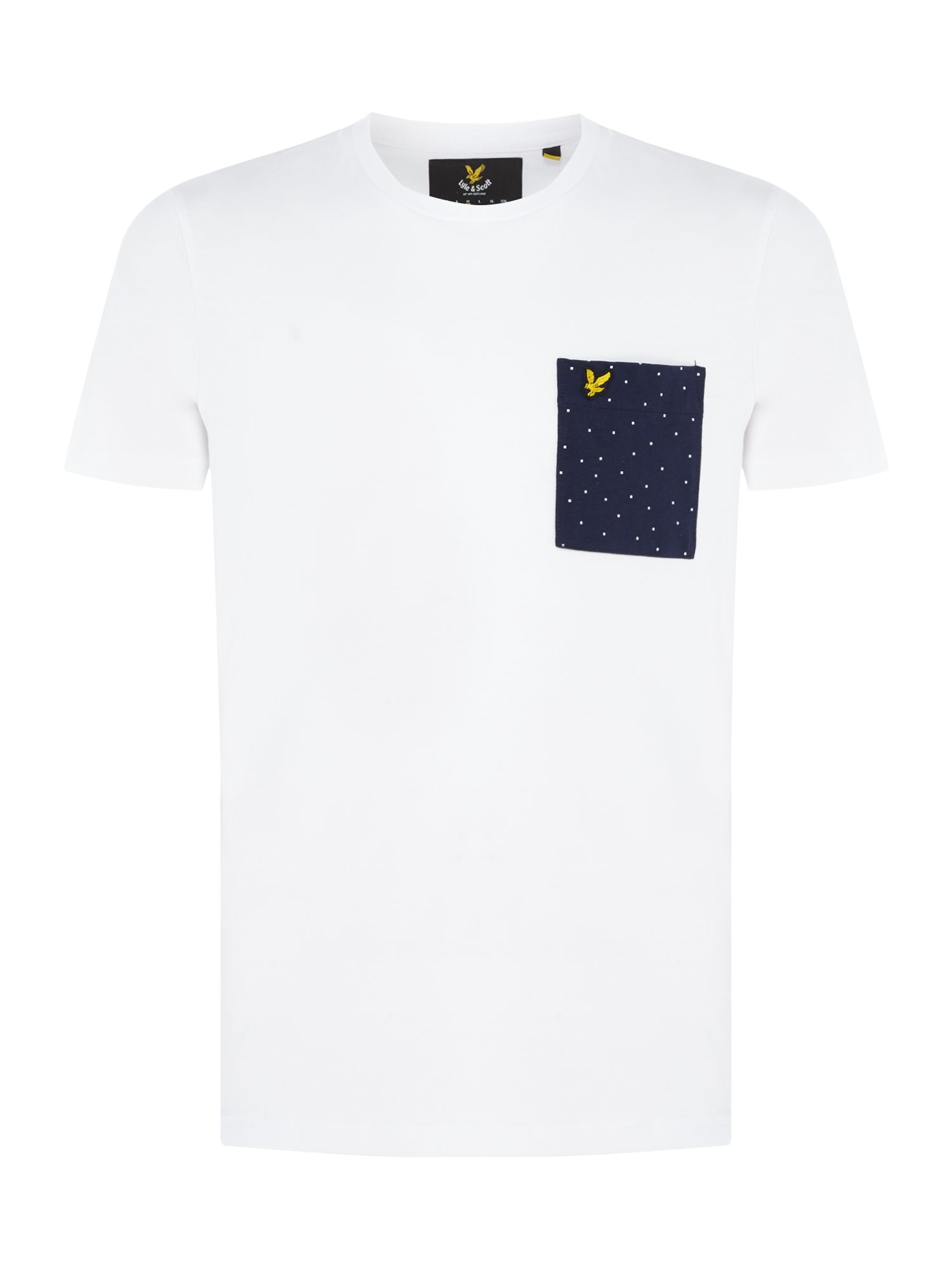 Men's Lyle and Scott Minimal dot pocket crew neck short sleeve t-shirt, White