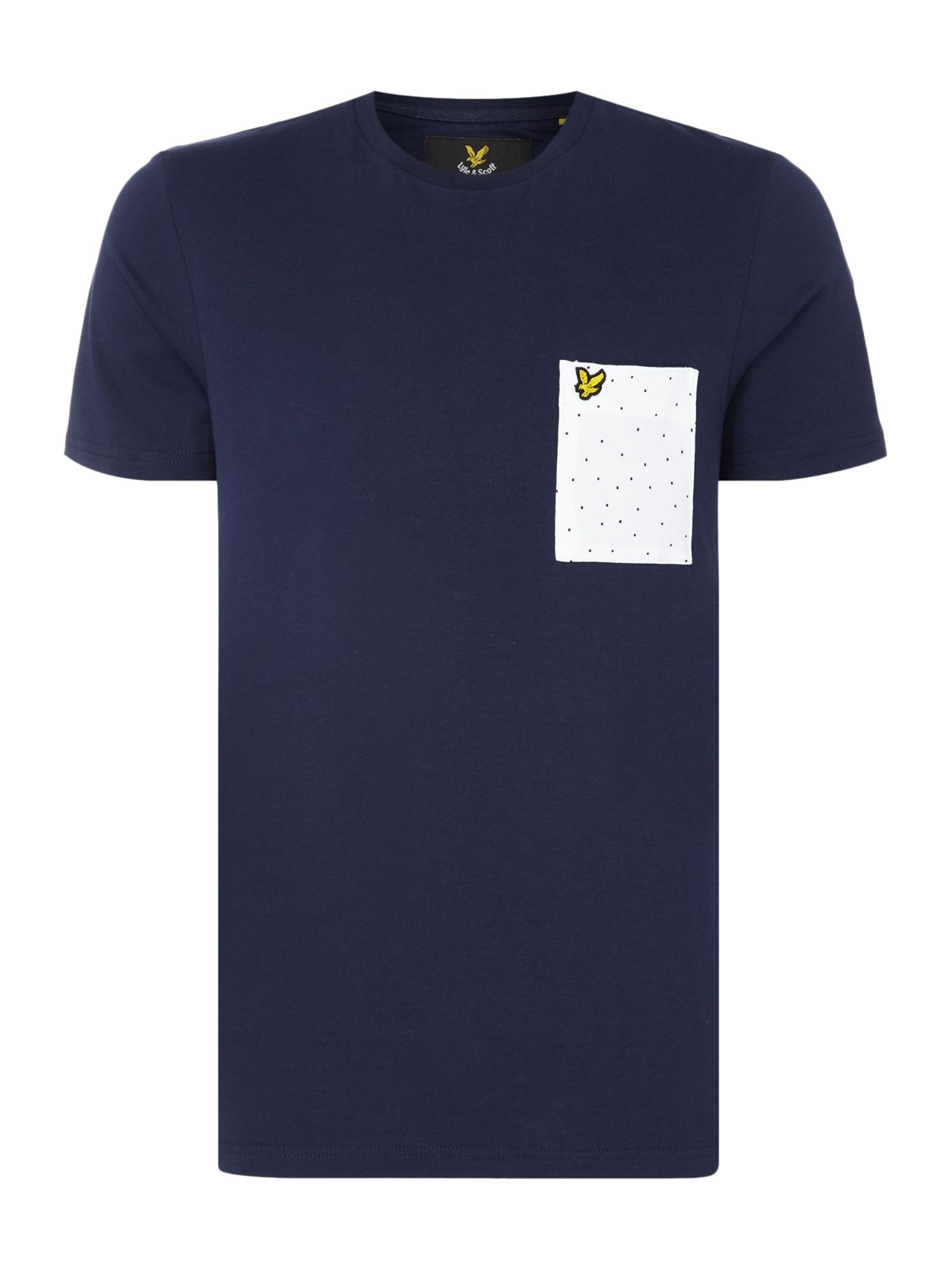 Men's Lyle and Scott Minimal dot pocket crew neck short sleeve t-shirt, Blue