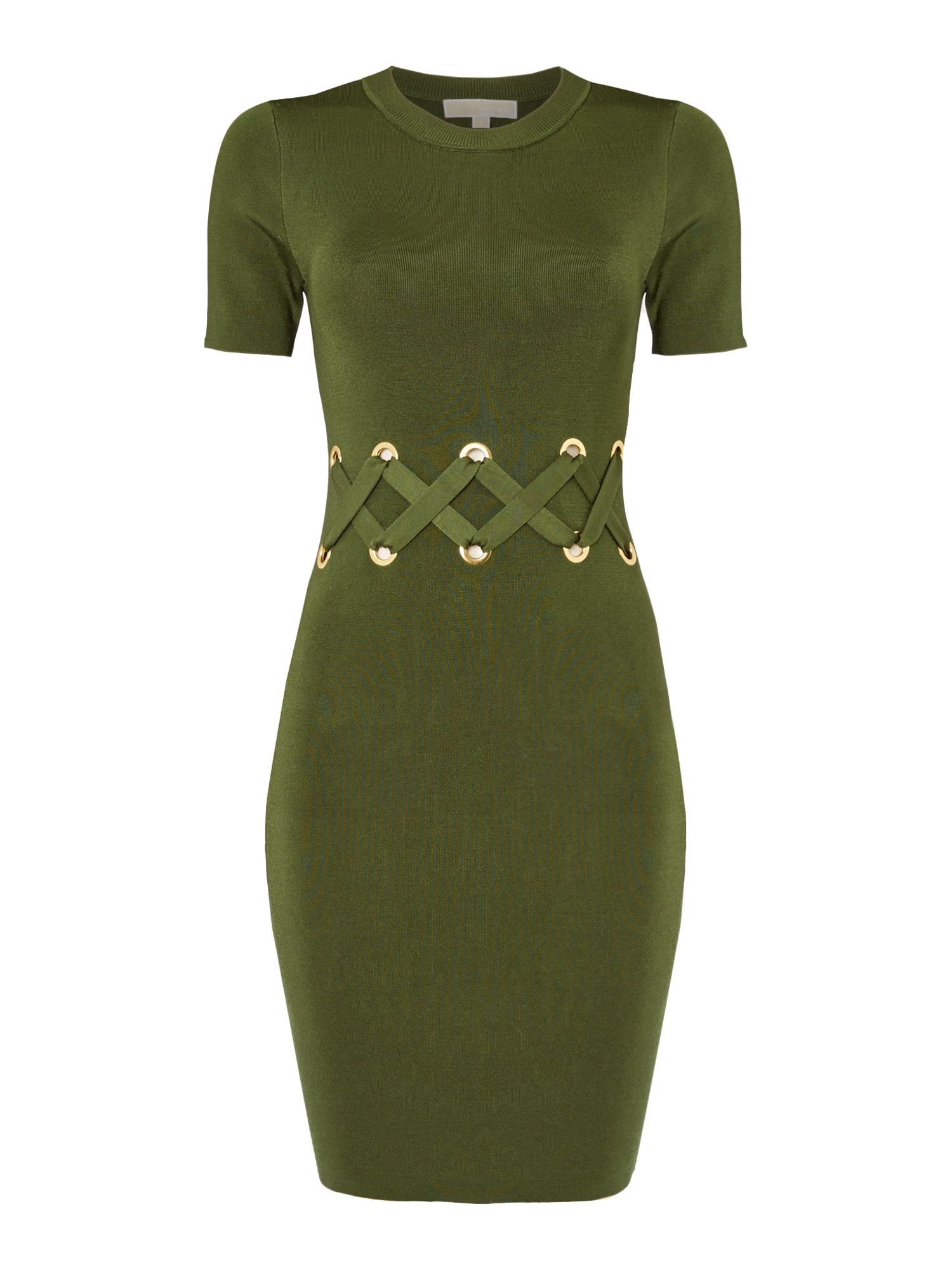 Michael Kors Short sleeve lace detail dress, Dark Green