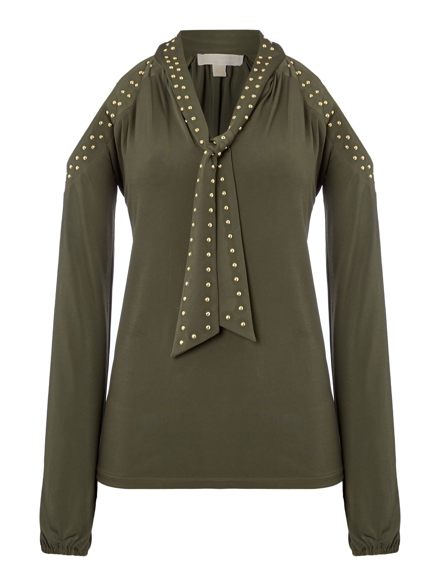 Michael Kors Long sleeve cold shoulder stud top, Dark Green