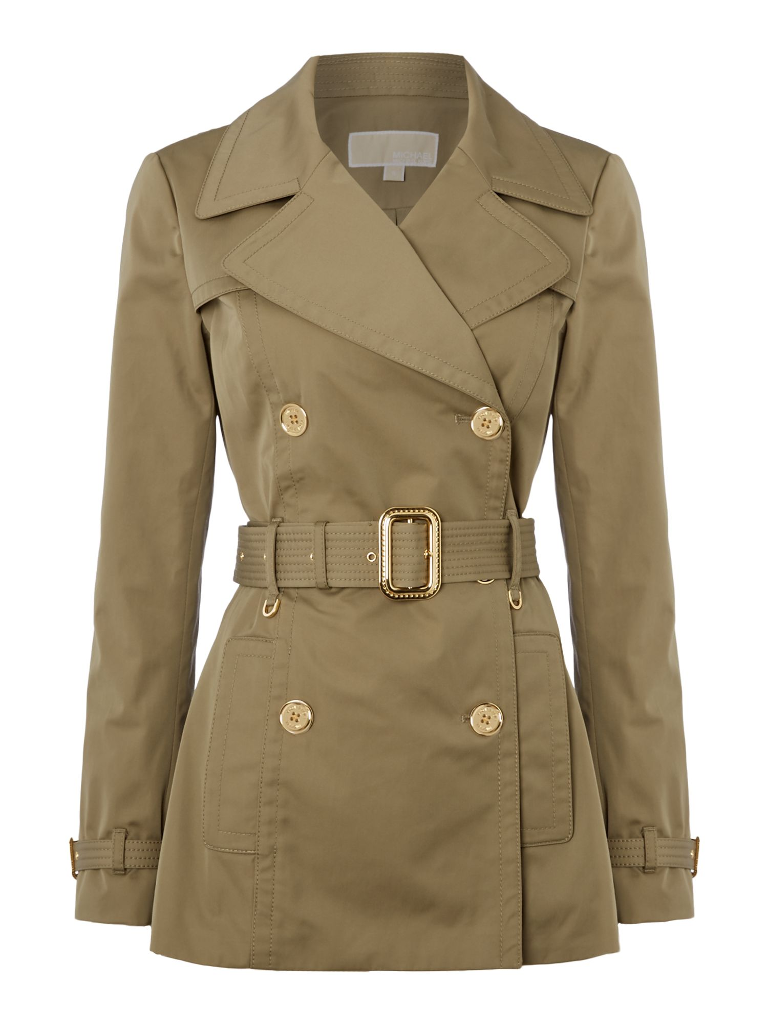 Michael Kors Short pleated trench jacket, Khaki
