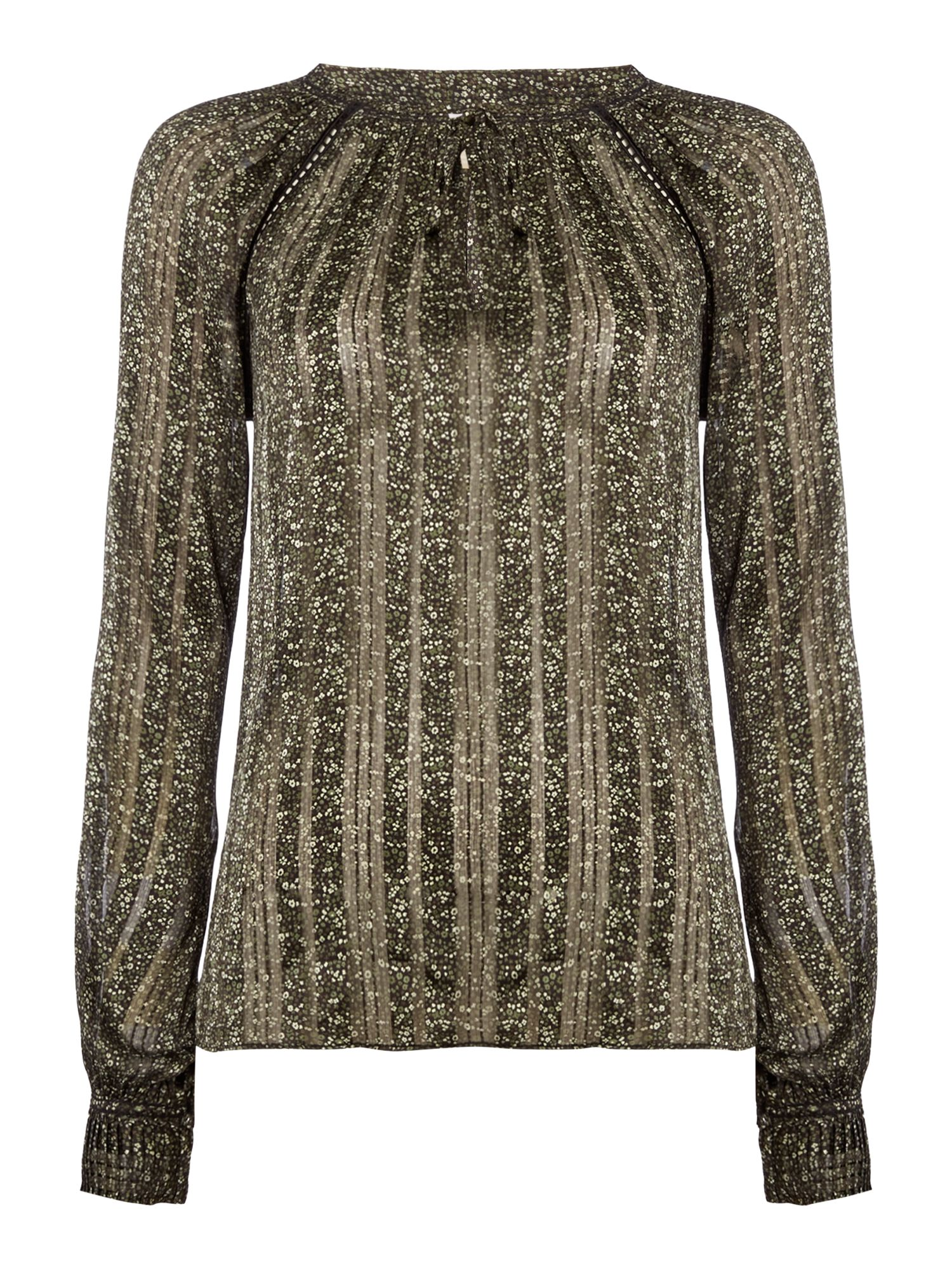 Michael Kors Long sleeve pleat top, Dark Green