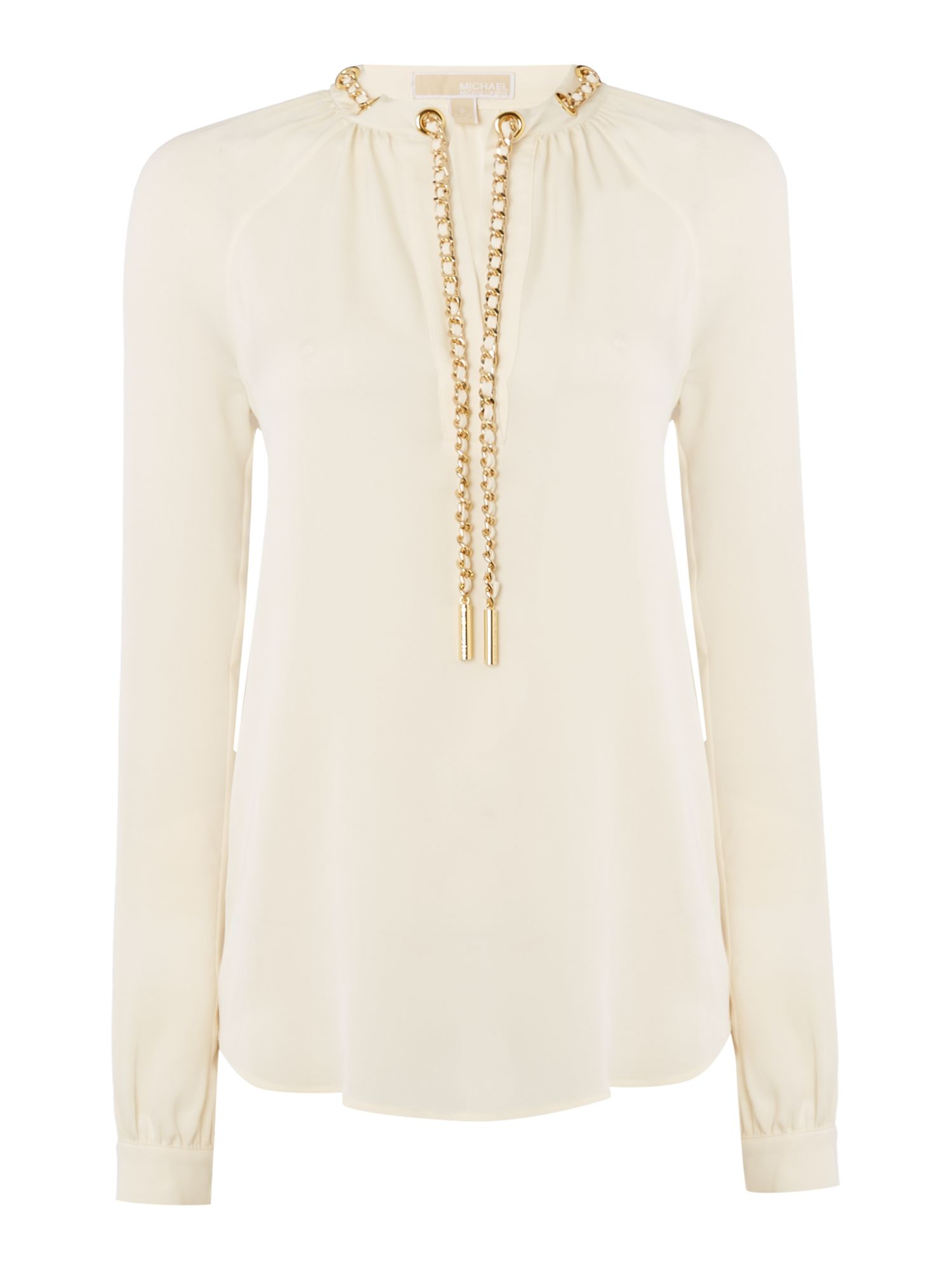 Michael Kors Long sleeve chain neck top, White