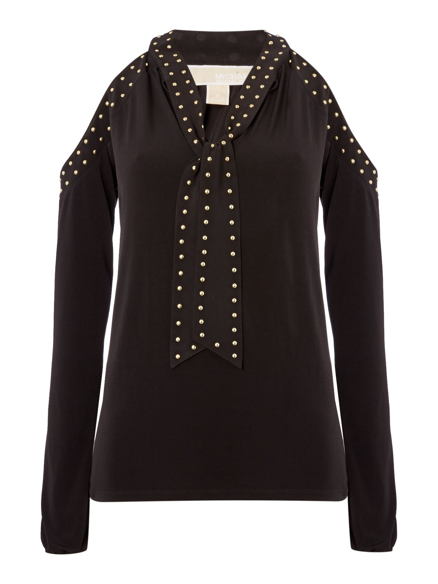 Michael Kors Long sleeve cold shoulder stud top, Black