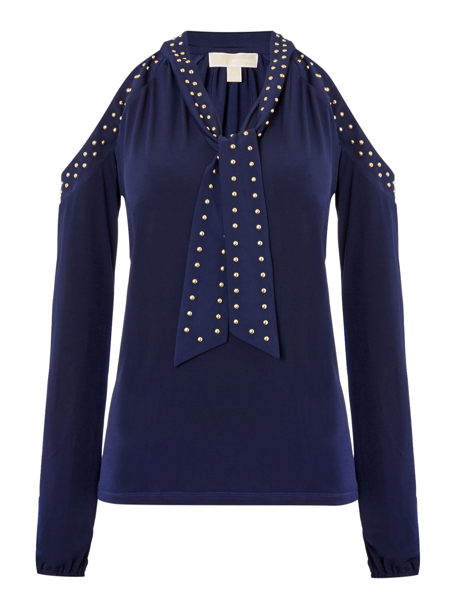 Michael Kors Long sleeve cold shoulder stud top, Blue
