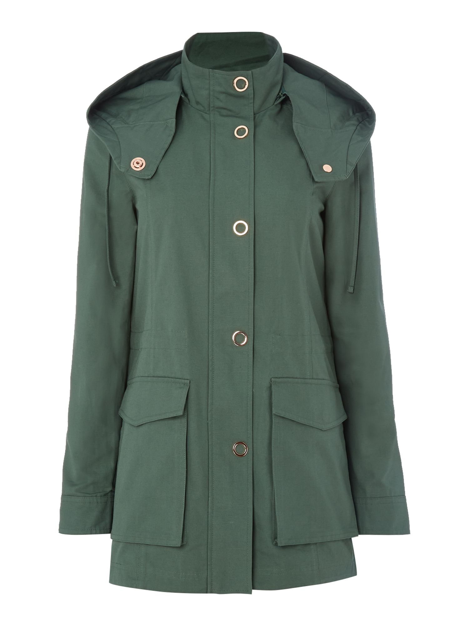Armani Exchange Caban Coat in Moss, Moss