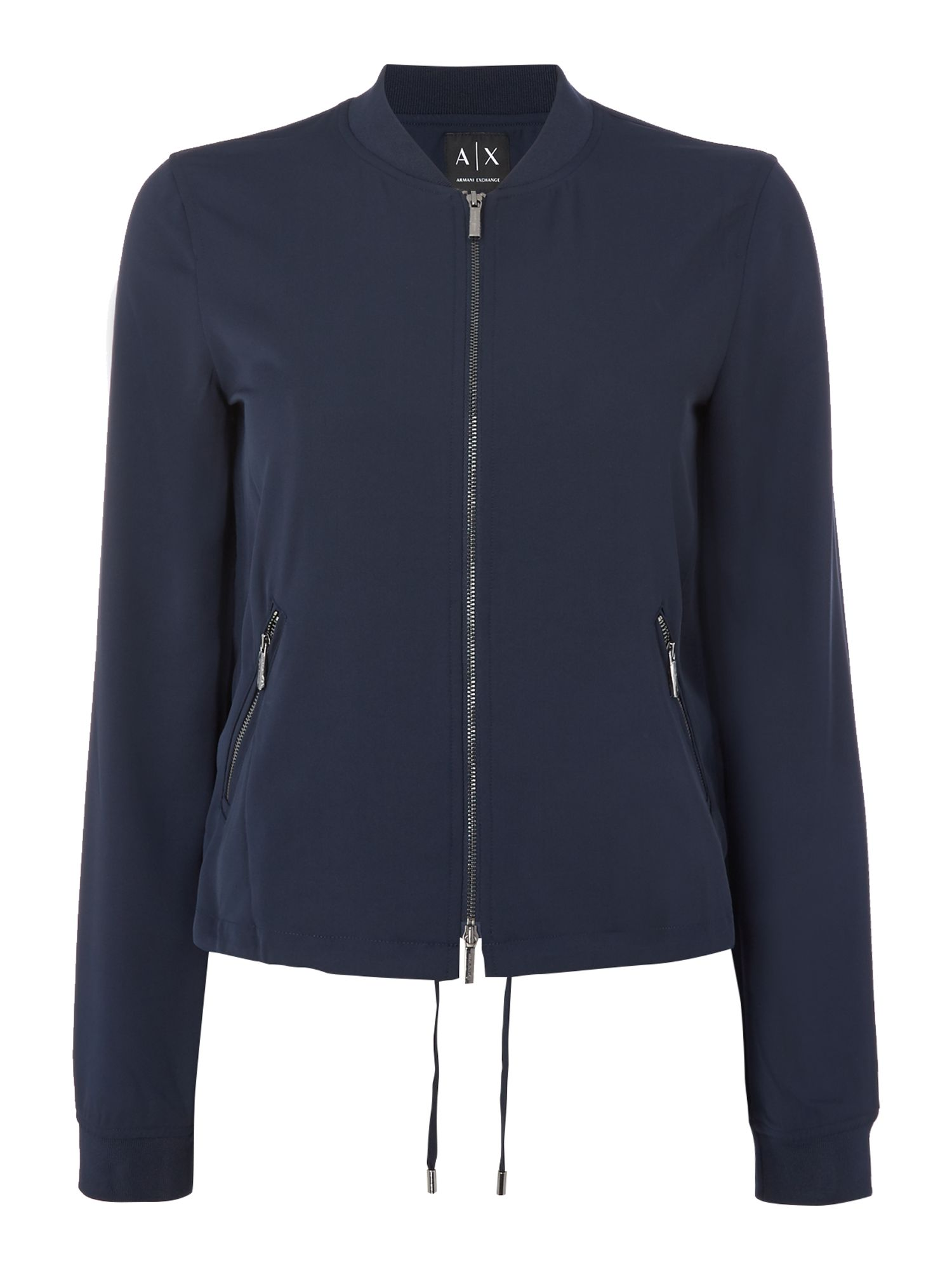 Armani Exchange Long Sleeve Bomber Jacket in navy, Blue