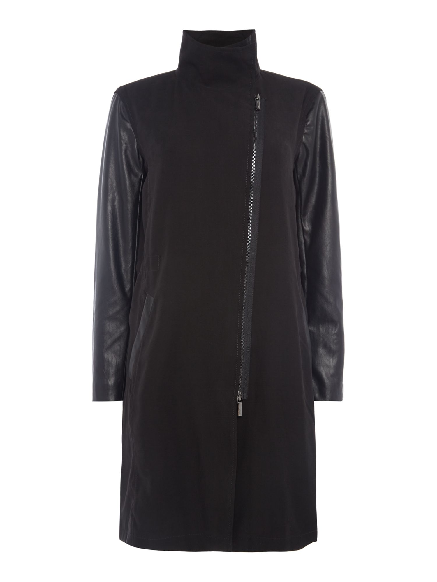 Armani Exchange Long Coat in Black, Black