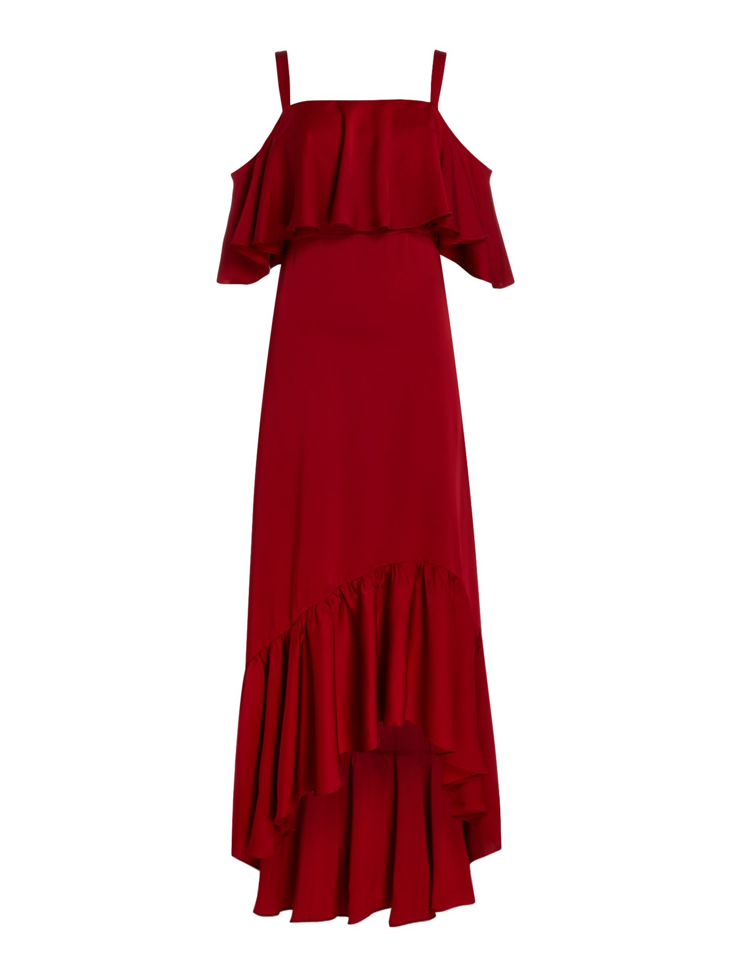 Jill Jill Stuart Midi dress with satin ruffles, Red