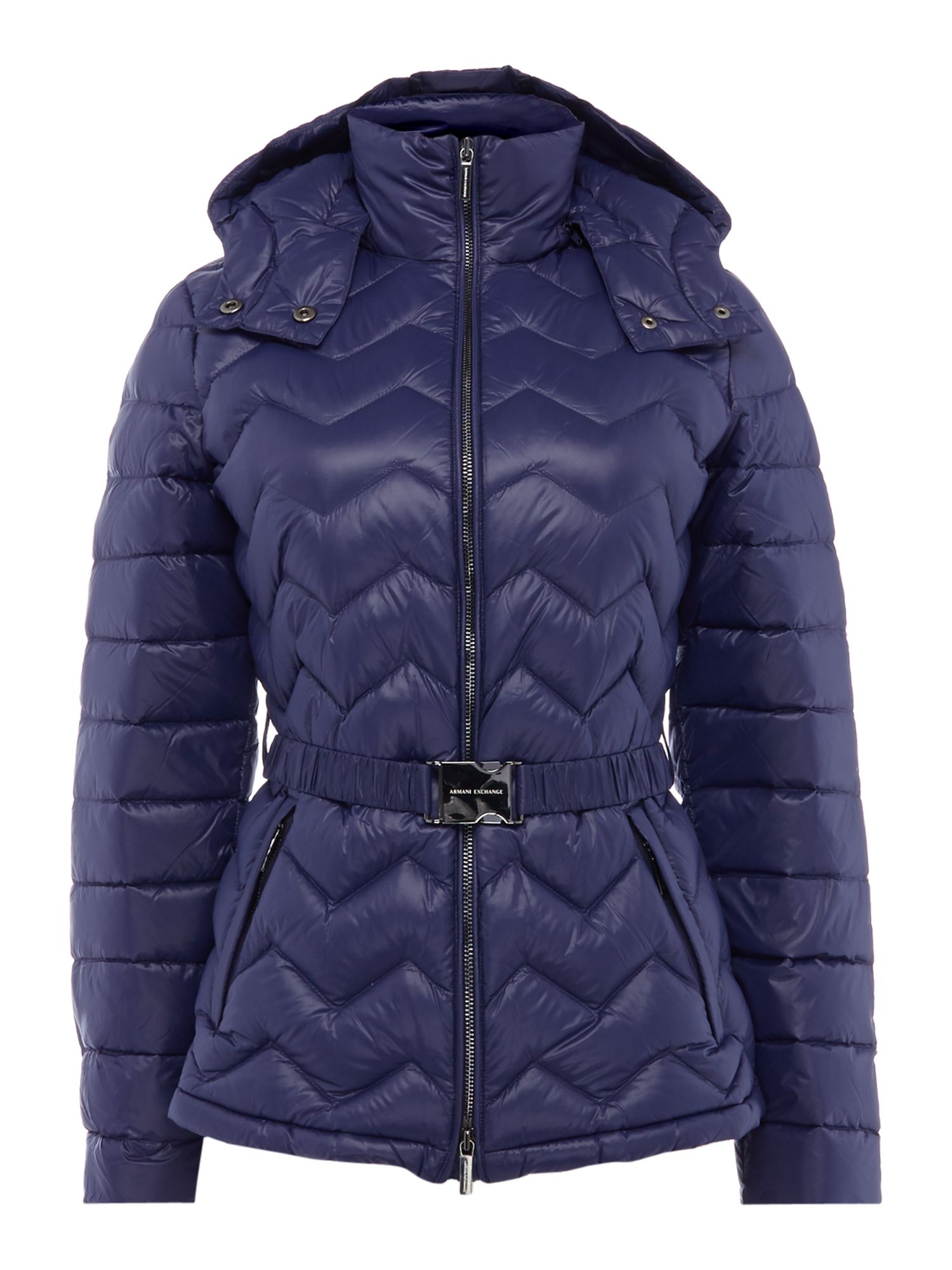 Armani Exchange Belted Padded Coat in evening Blue, Blue