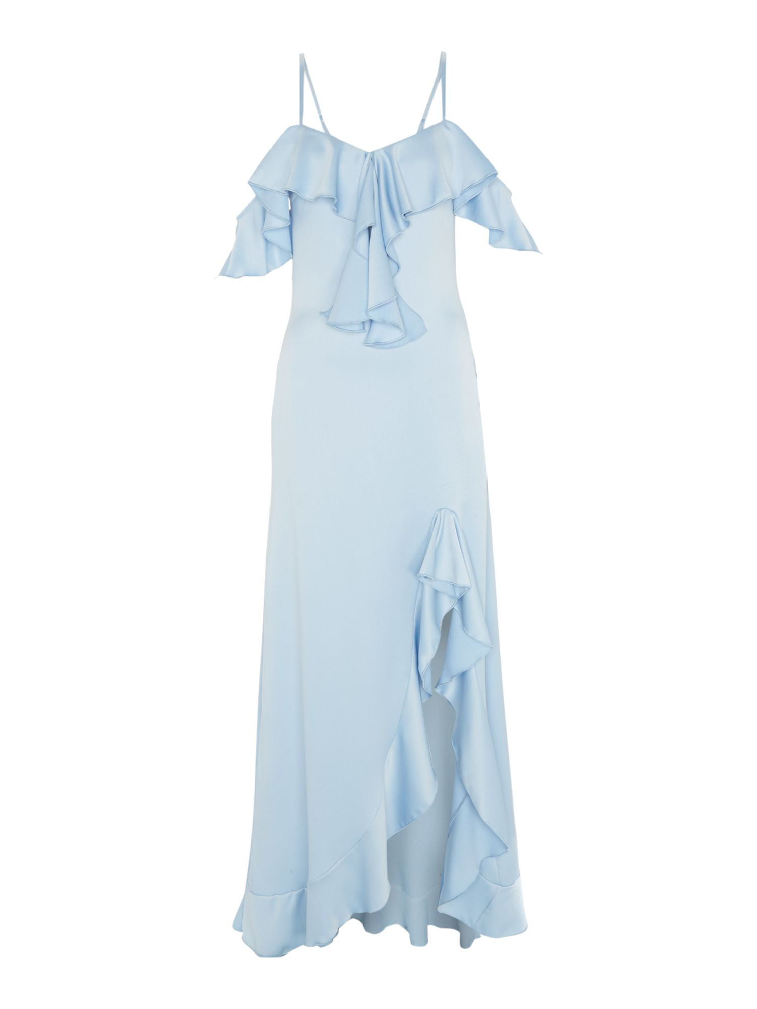 Jessica Wright Off shoulder thin straps midi ruffle dress, Light Blue