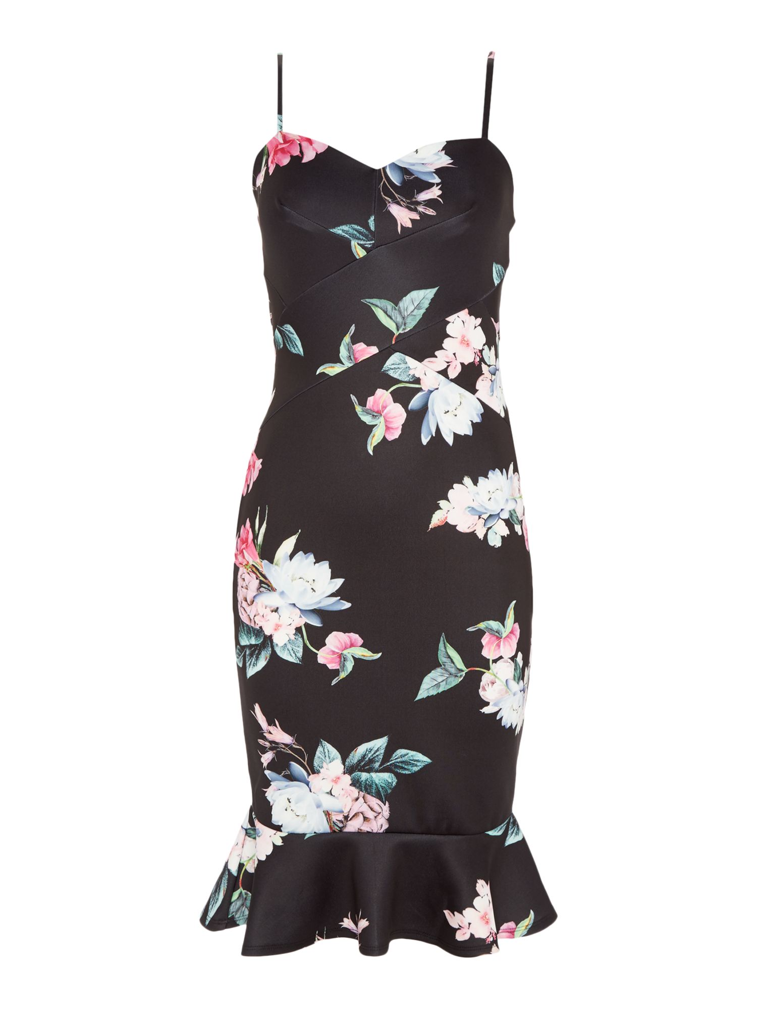 Jessica Wright Thin straps sweetheart neck midi floral dress, Multi-Coloured