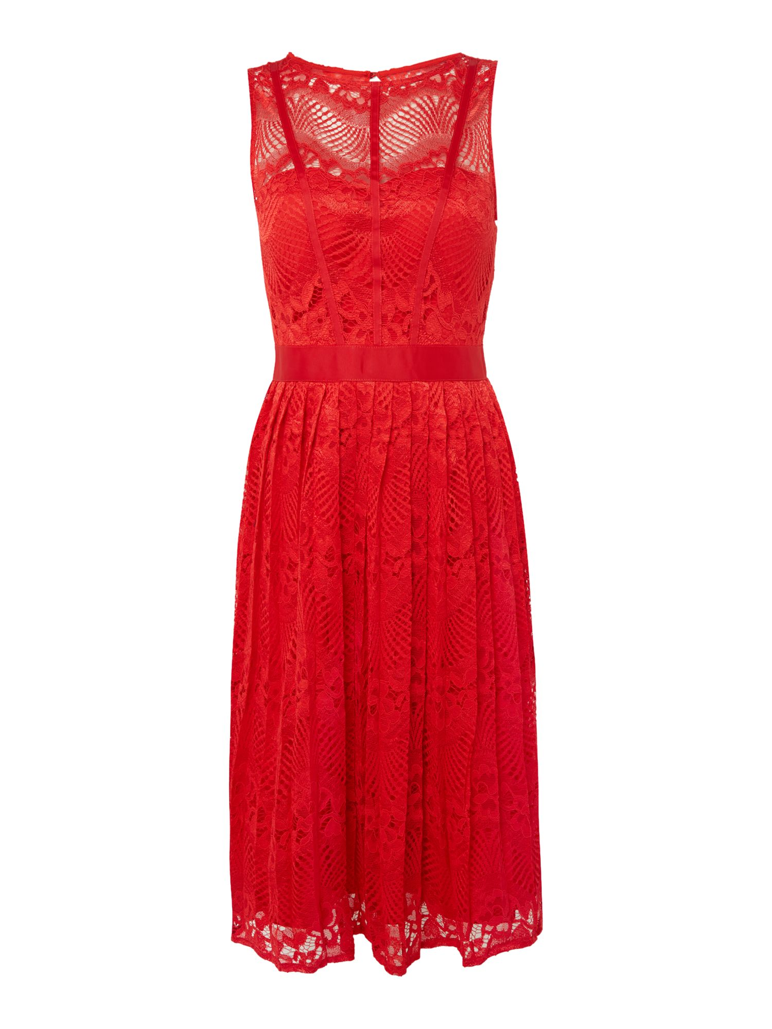 Little Mistress Fit and flare lace midi dress, Red