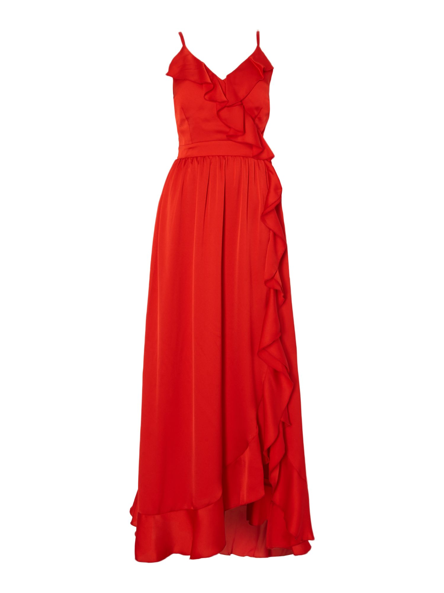 Little Mistress Sleeveless maxi dress with frill detail, Red