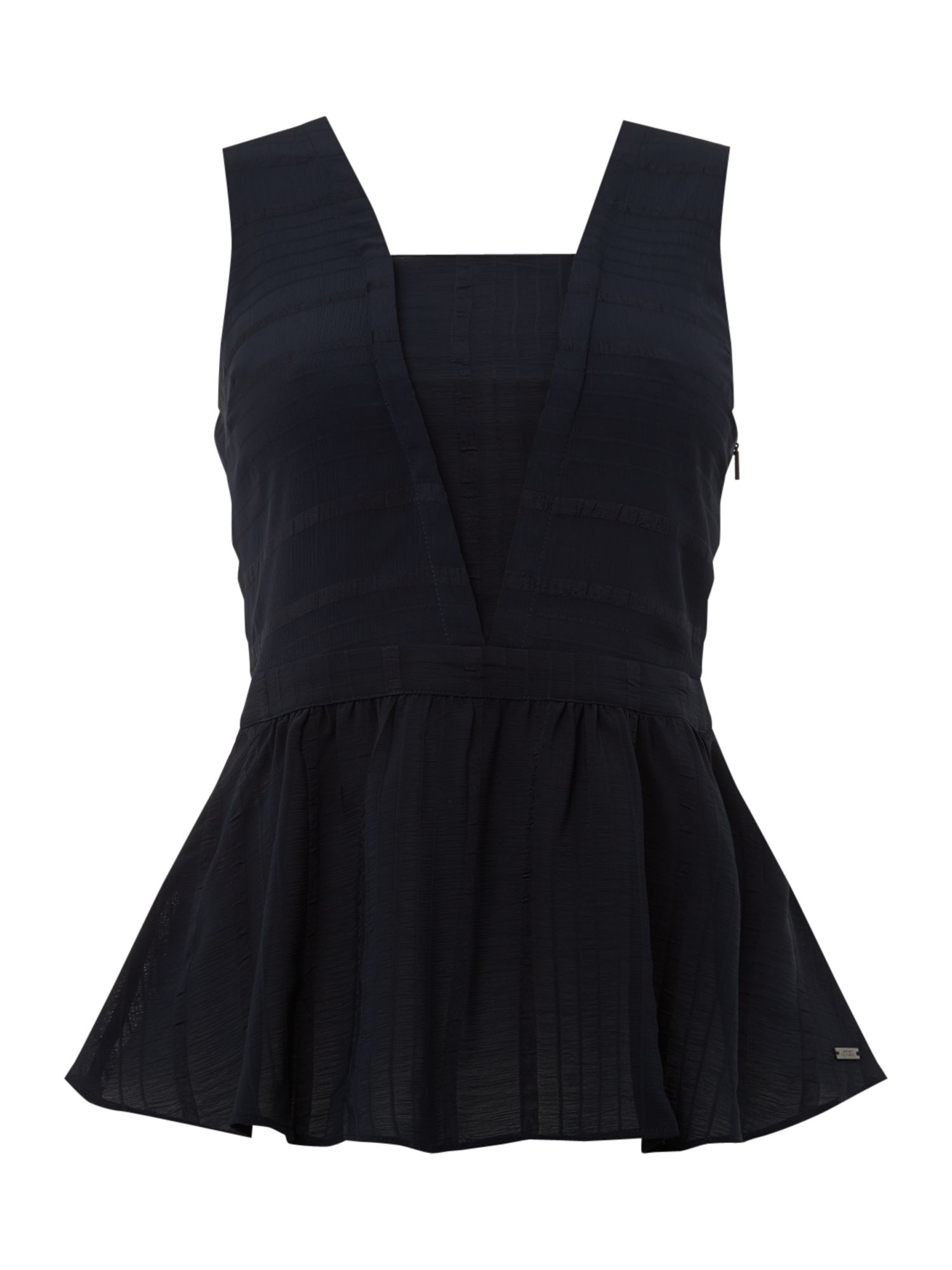 Armani Exchange V Neck Peplum Top in Navy, Blue