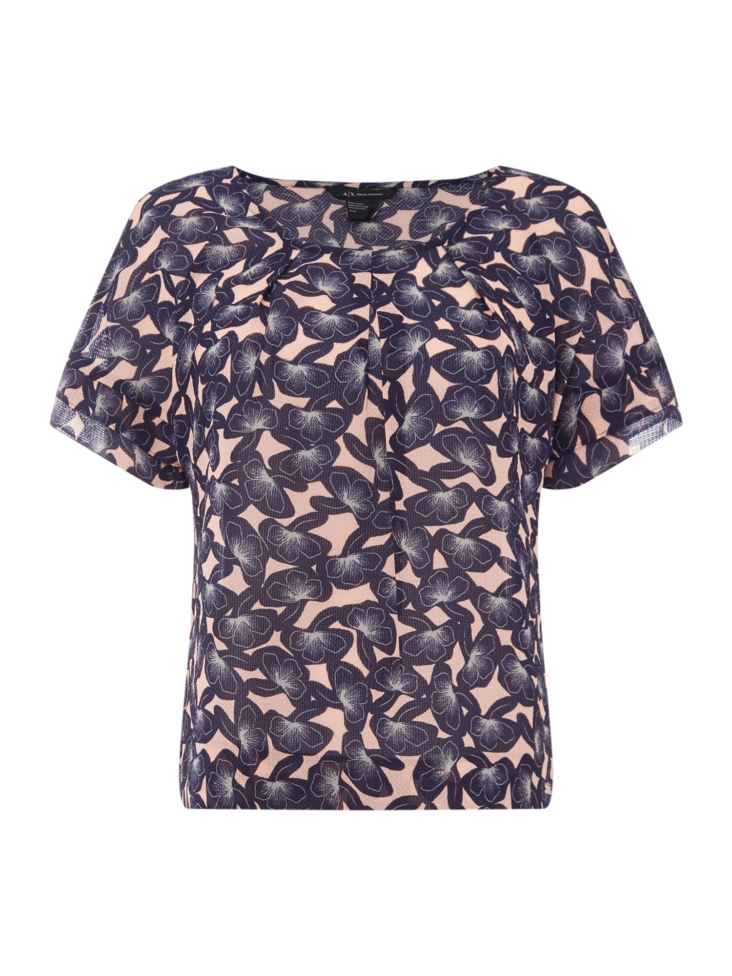 Armani Exchange Short Sleeve Printed Blouse in Pink Mushroom, Pink