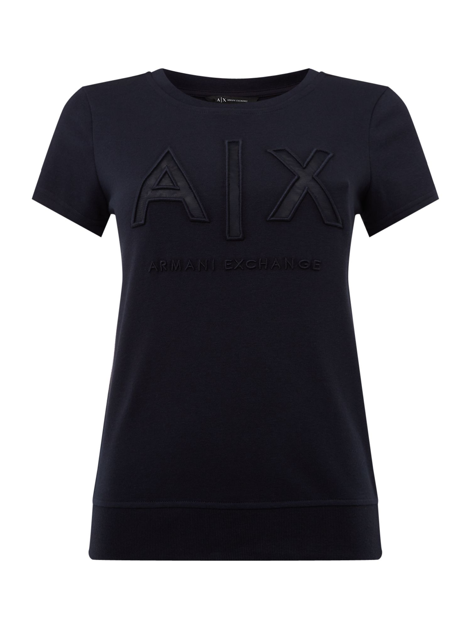 Armani Exchange Short Sleeve Crew Neck Top in Navy, Blue