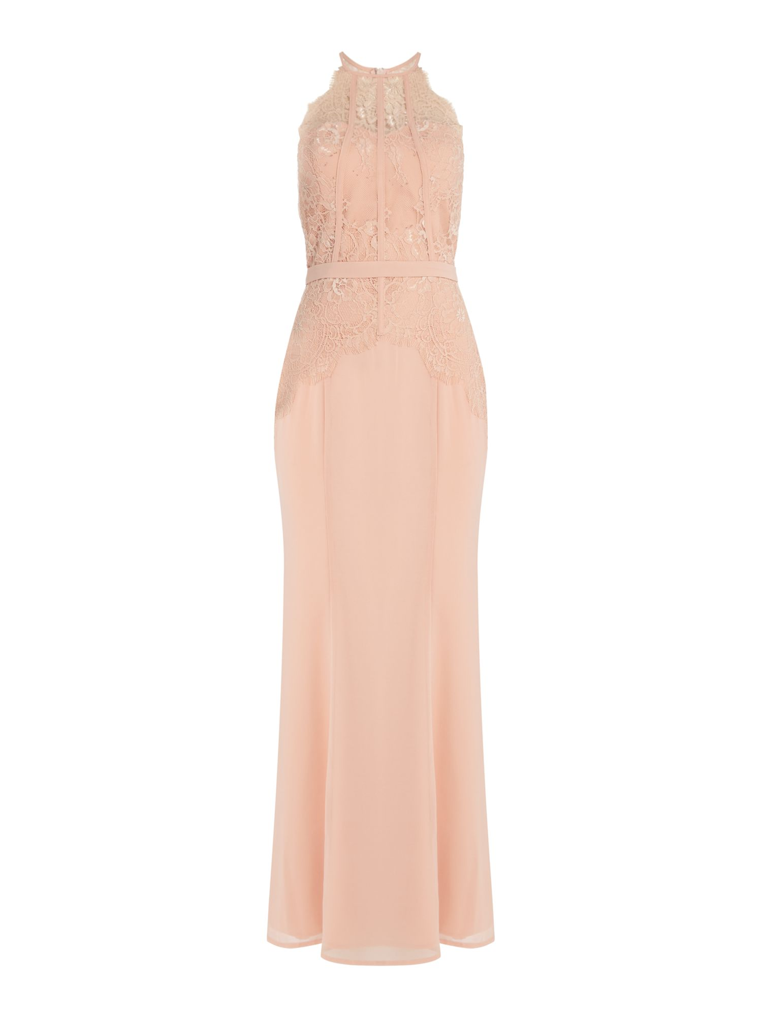 Little Mistress Maxi dress with lace top, Nude