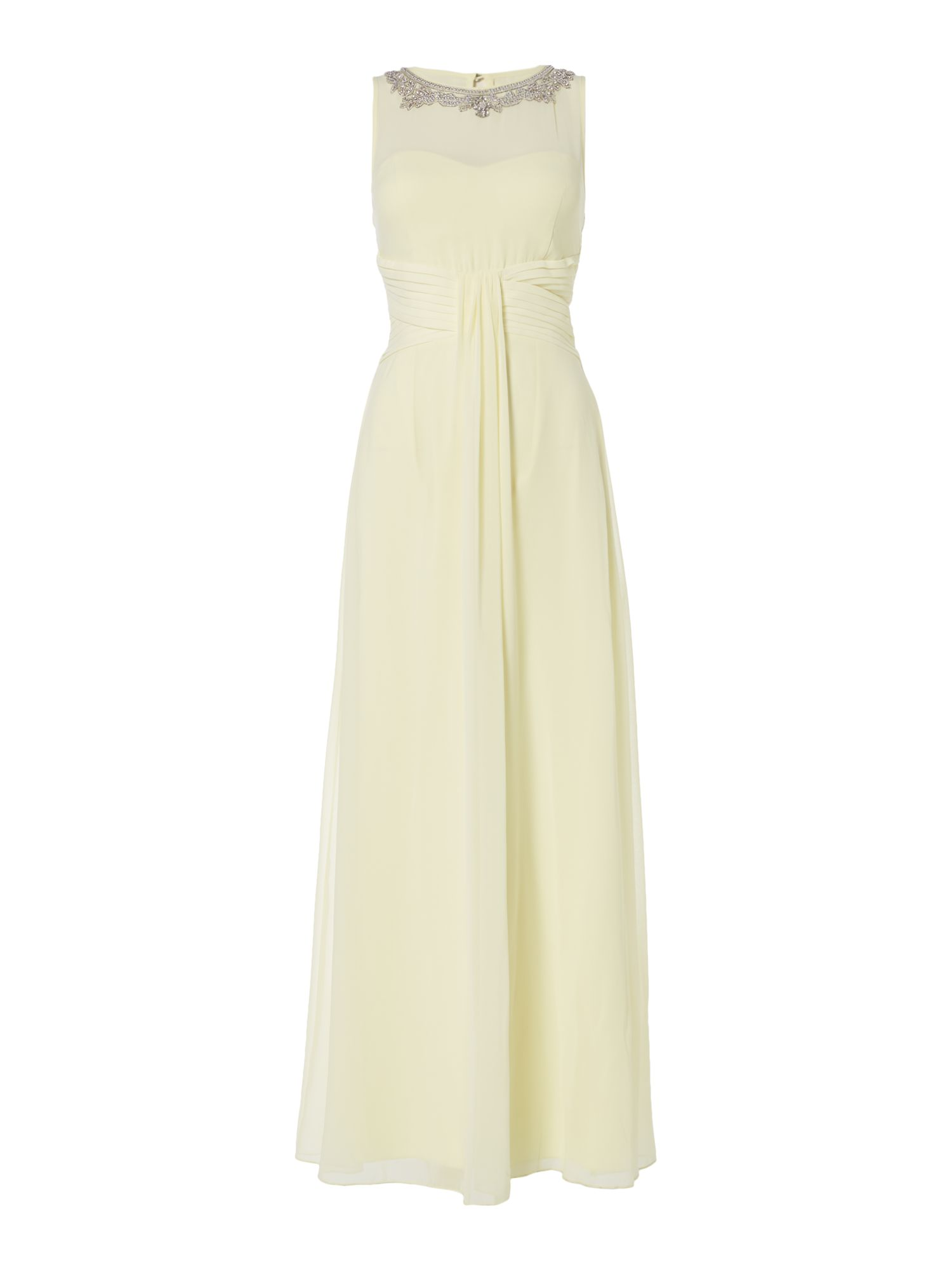 Little Mistress Embellished neckline maxi dress, Yellow