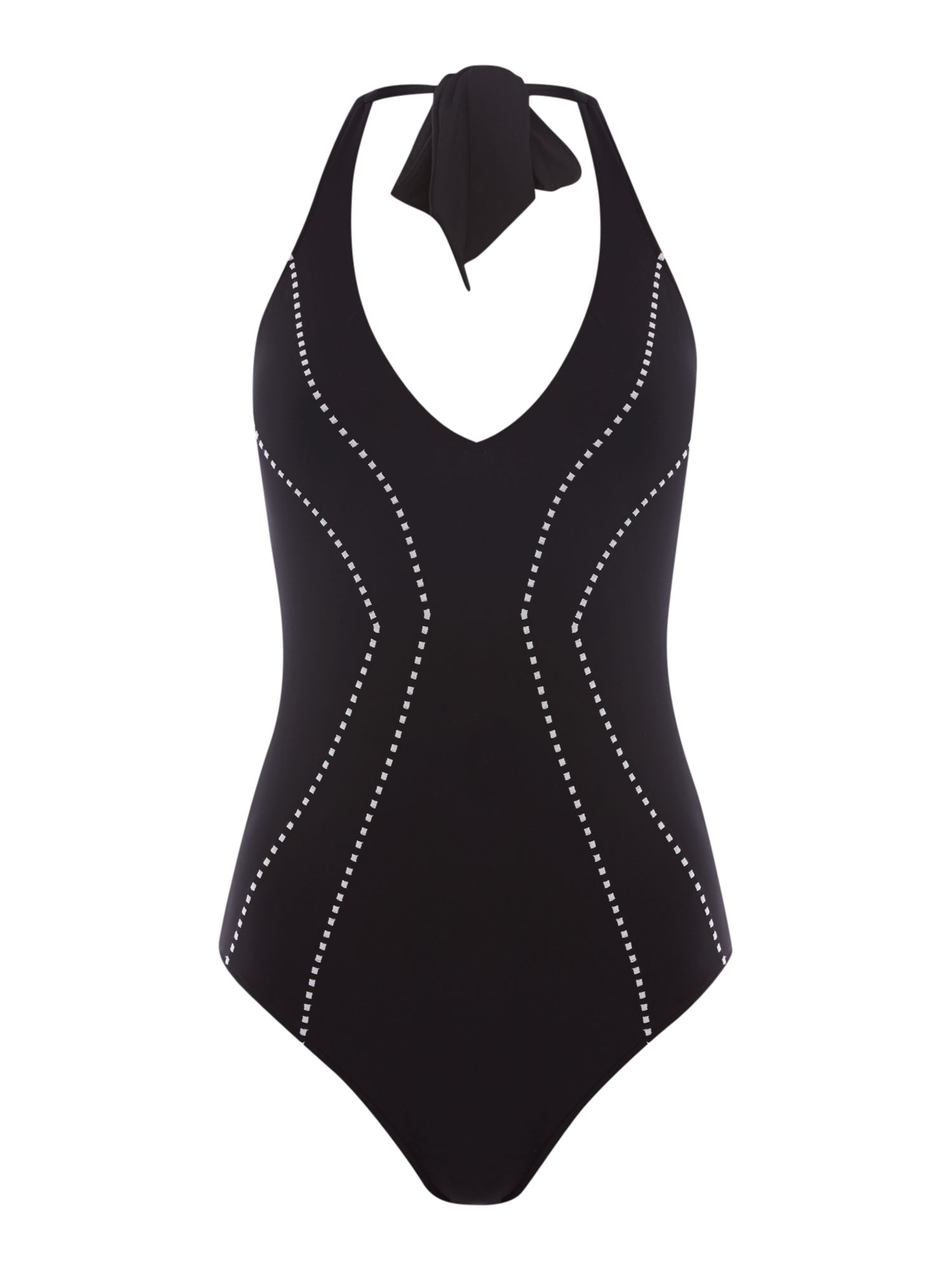 Seafolly Beach squad deep V maillot swimsuit, Black
