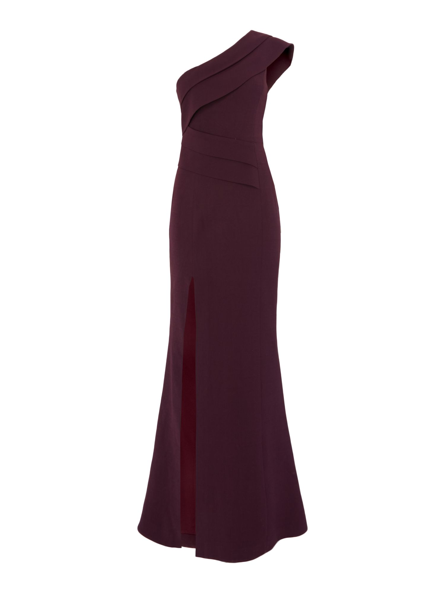 C/MEO One shoulder pleated maxi dress, Aubergine