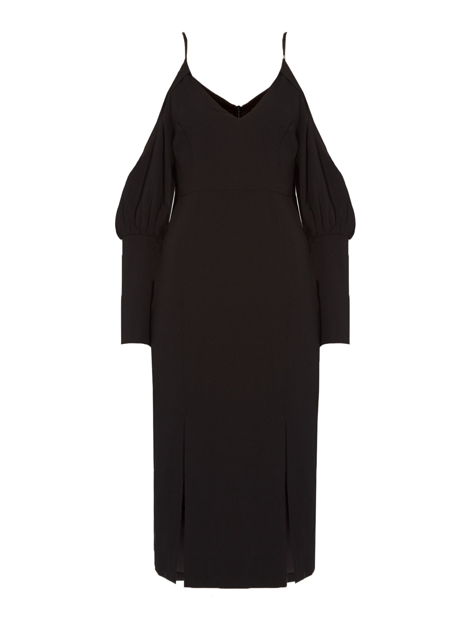 C/MEO Long sleeve midi dress with cold shoulder, Black
