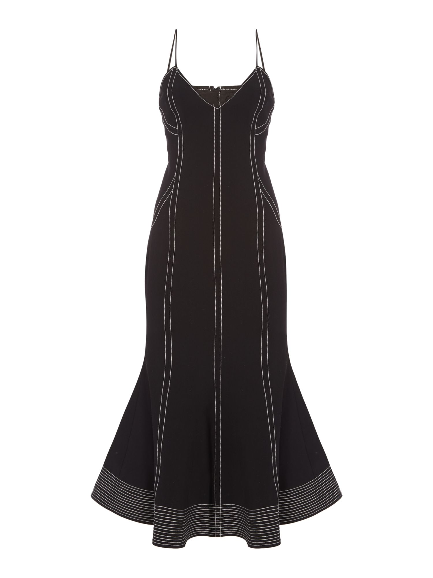 C/MEO Fitted midi dress with piping and flare hem, Black
