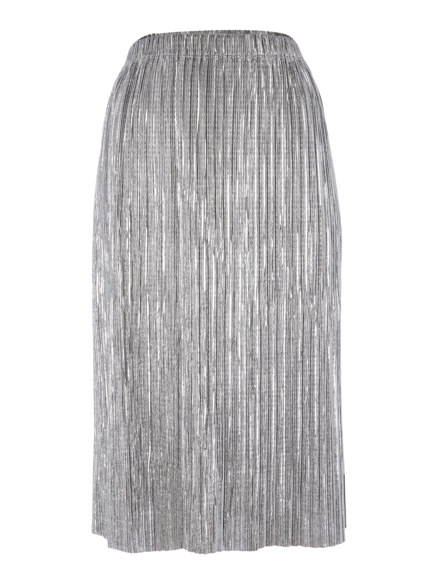 Label Lab Metallic Plisse Skirt, Silver