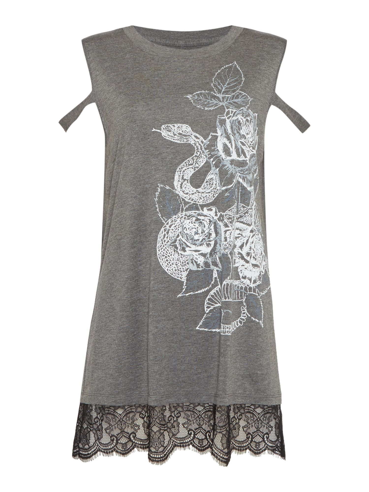 Label Lab Rose Print Lace Hem Tee, Grey