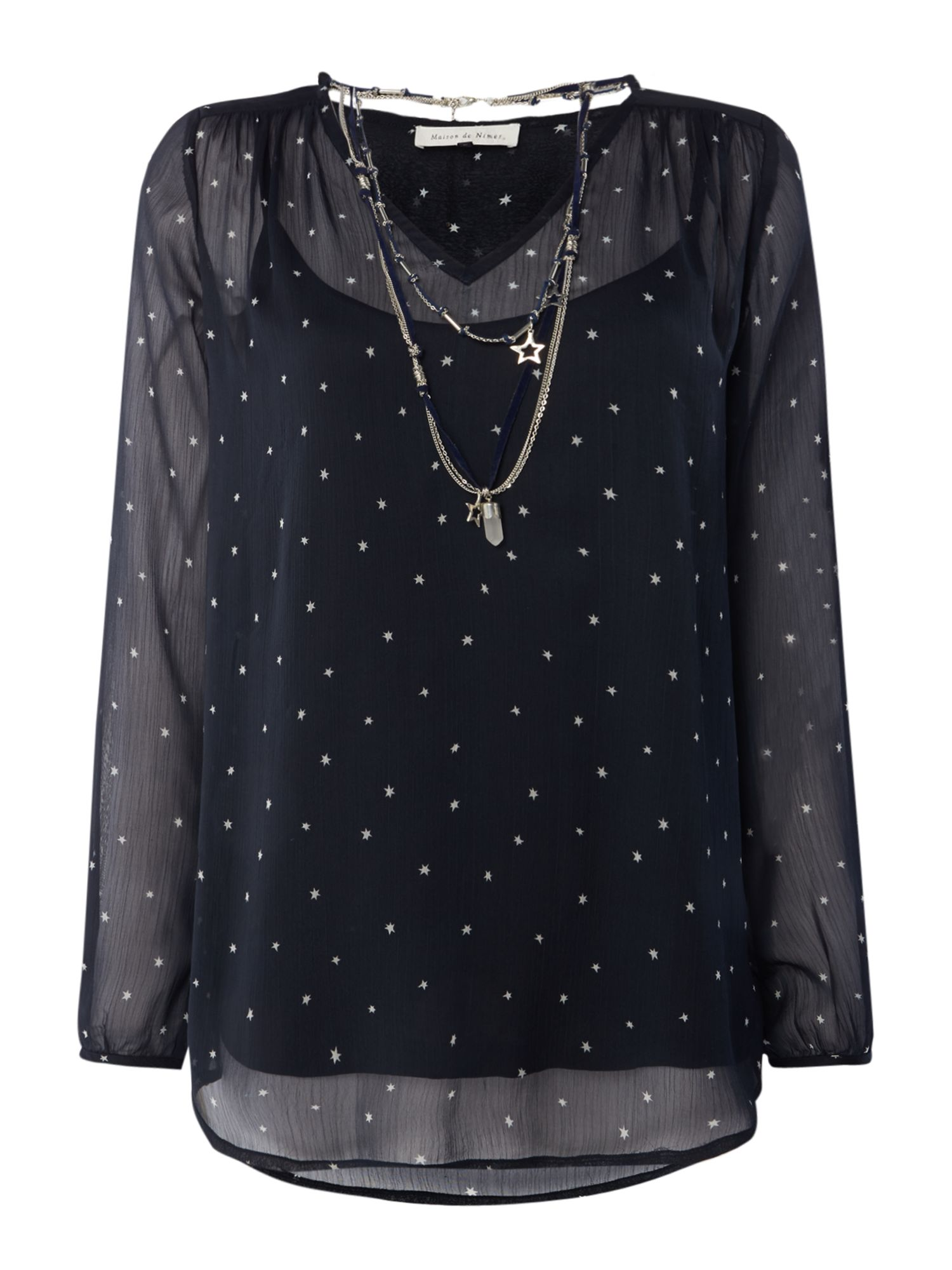 Maison De Nimes Star Necklace Blouse, Blue