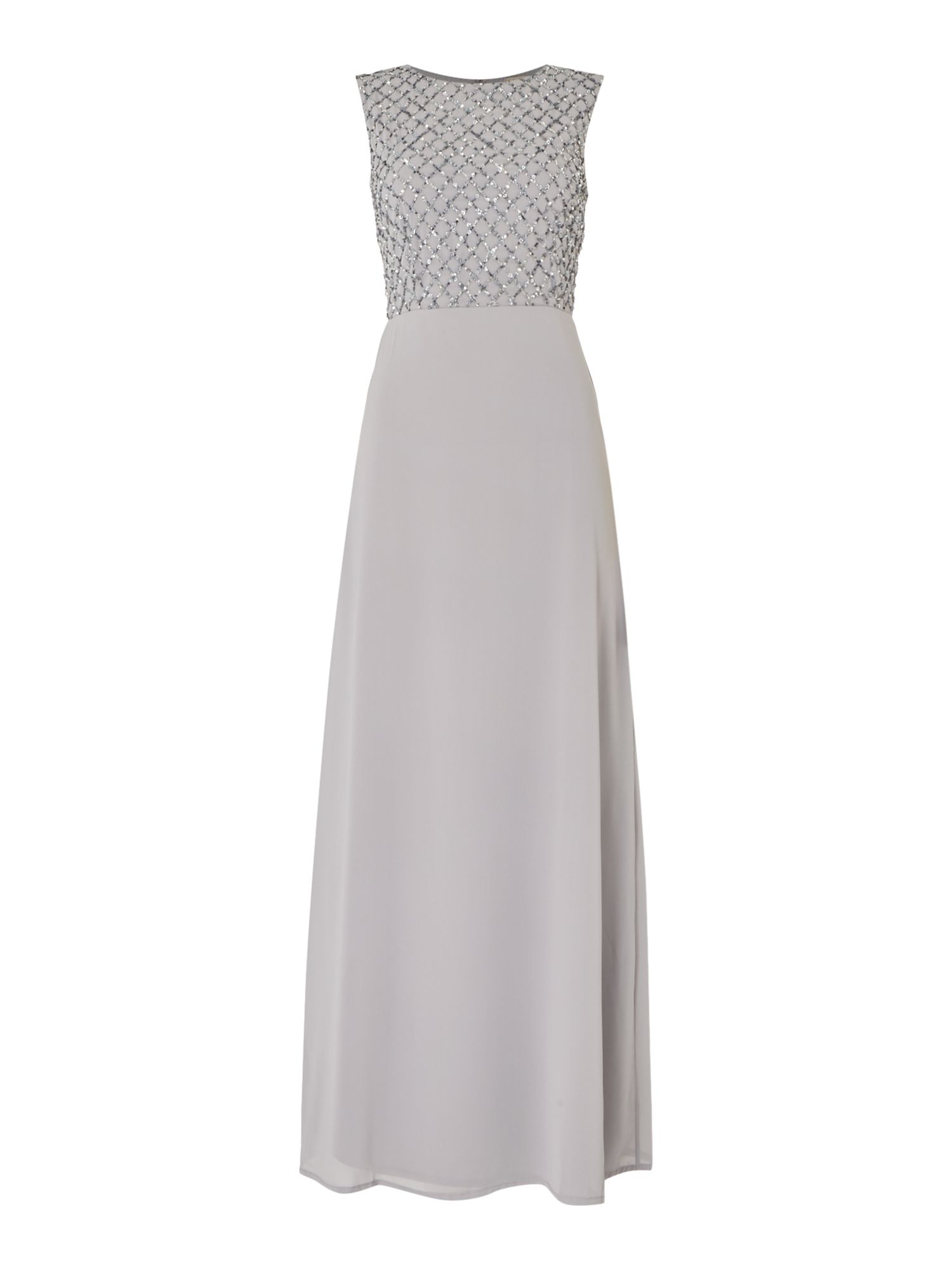 Lace and Beads Sleeveless maxi dress with sequin top, Grey