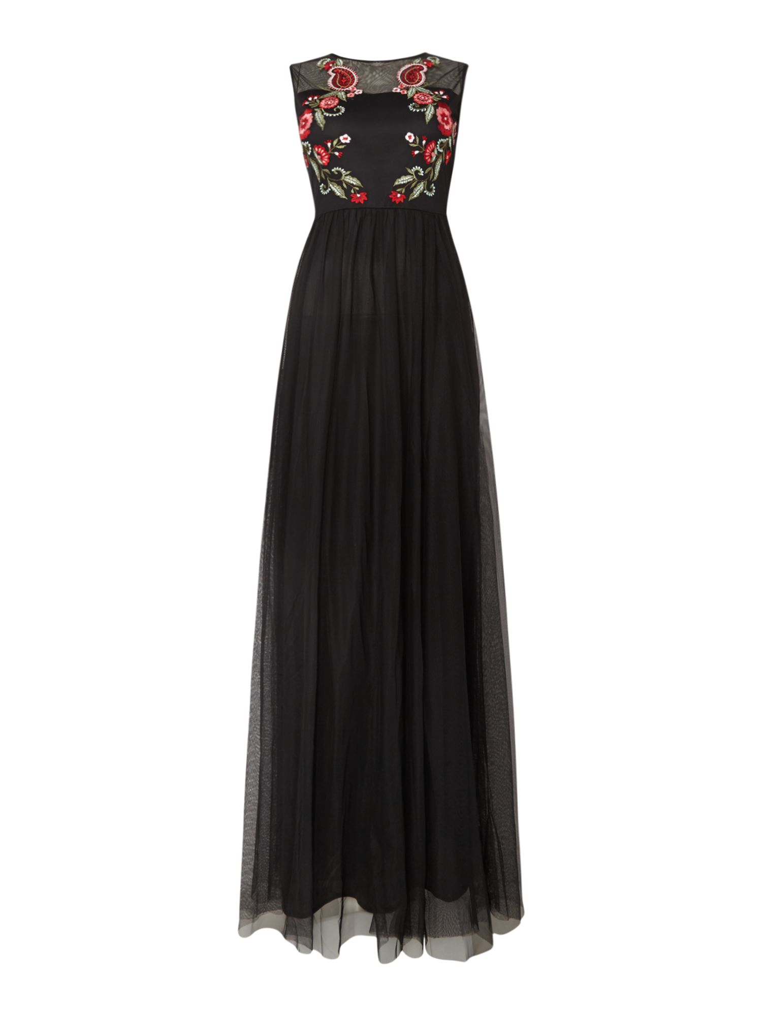 Lace and Beads Sheer embroidered sleeveless maxi dress, Black