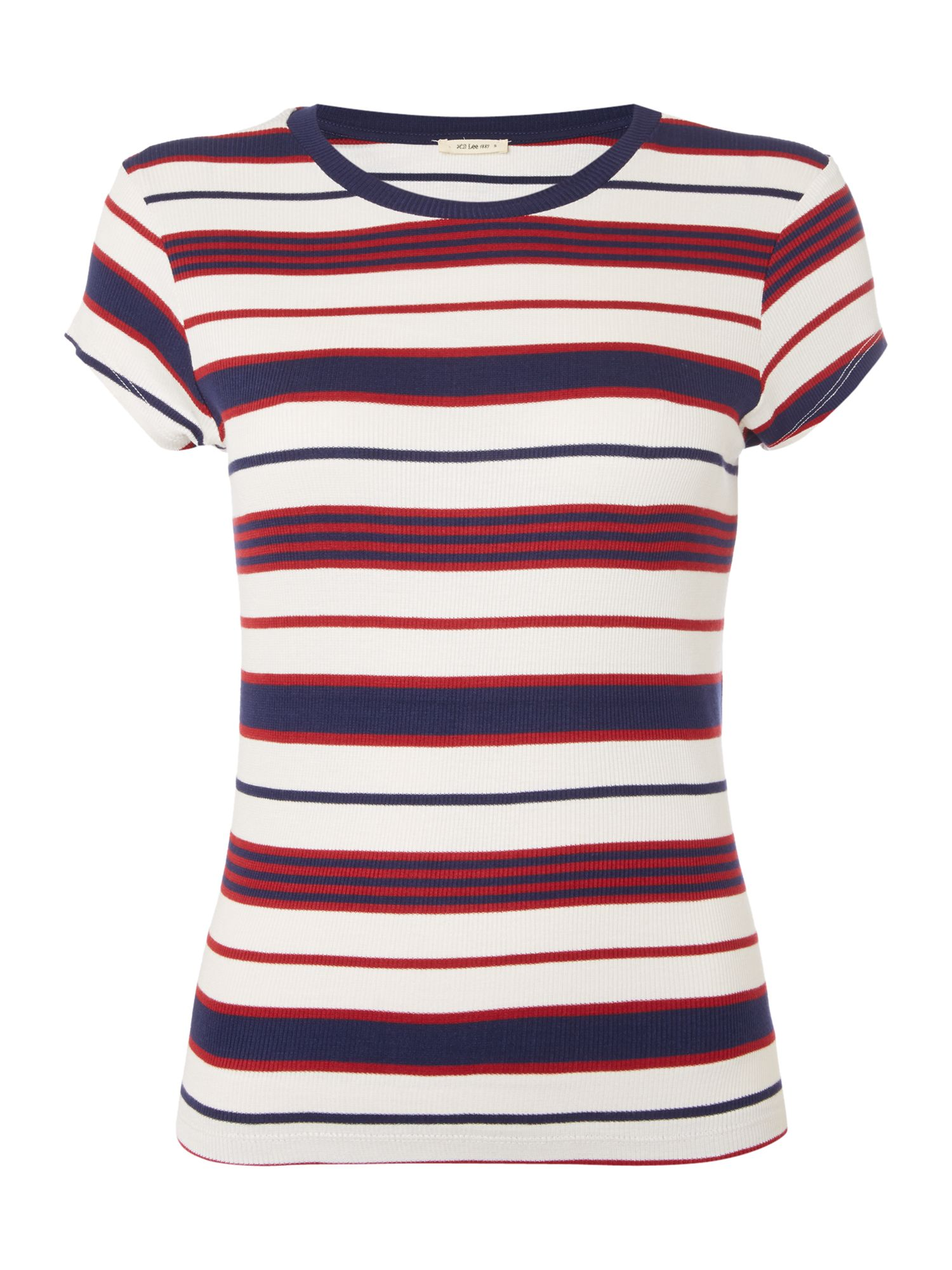 Lee Stripe Tee In State Blue, Multi-Coloured