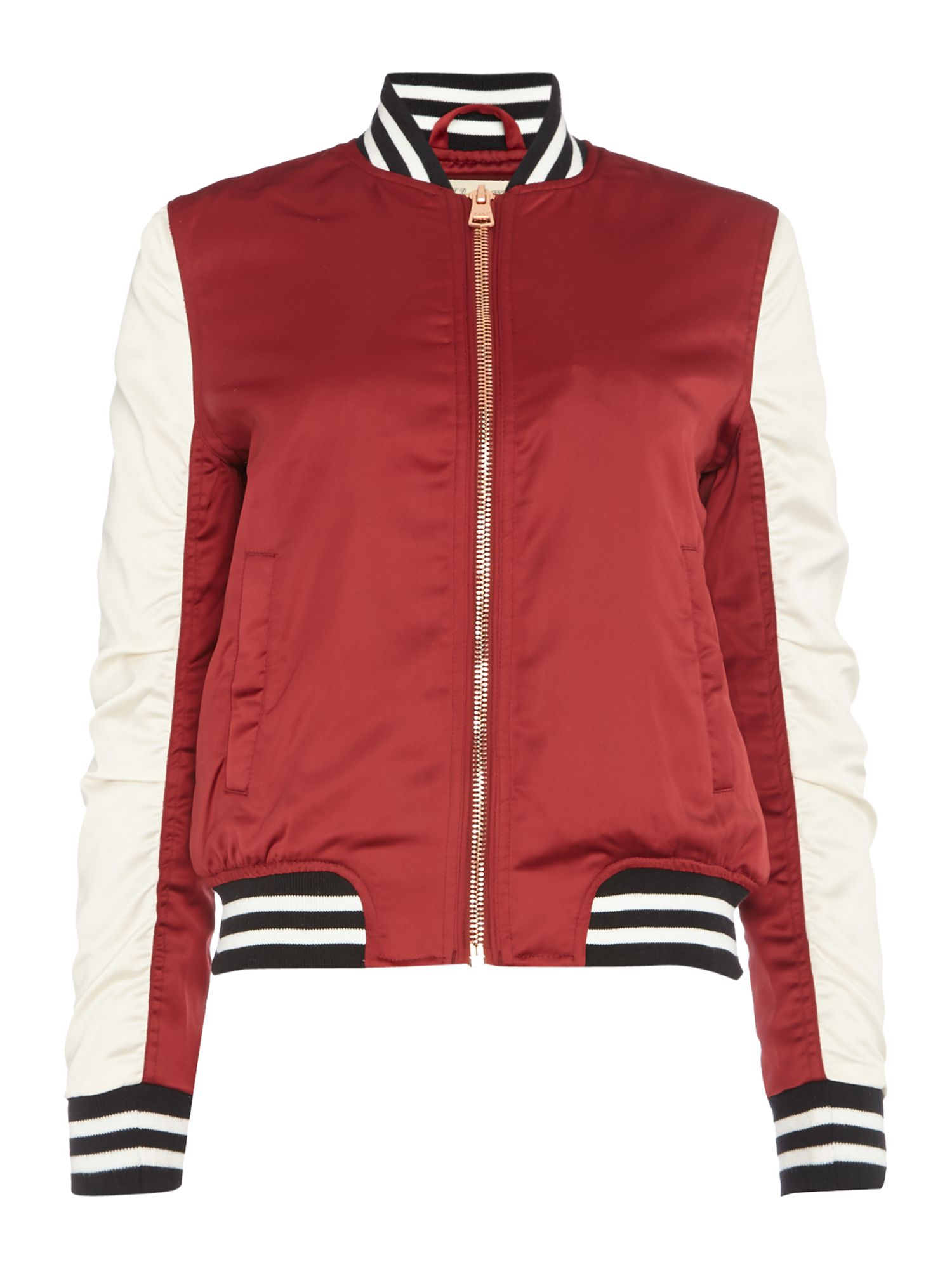 Lee Sateen Bomber Jacket In Biking Red, Red