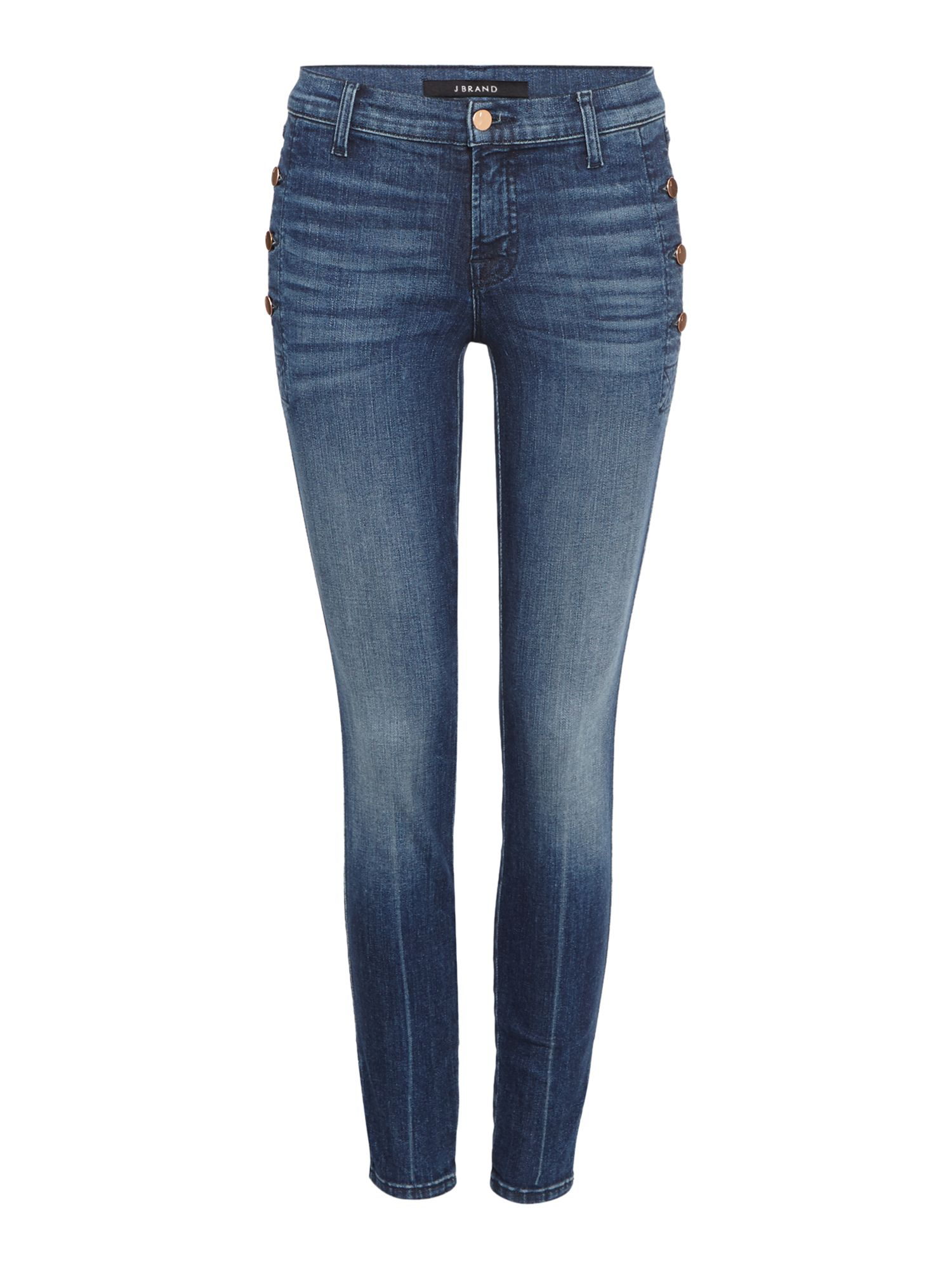Zion Mid Rise Skinny Jean With Button Pocket, Denim Mid Wash