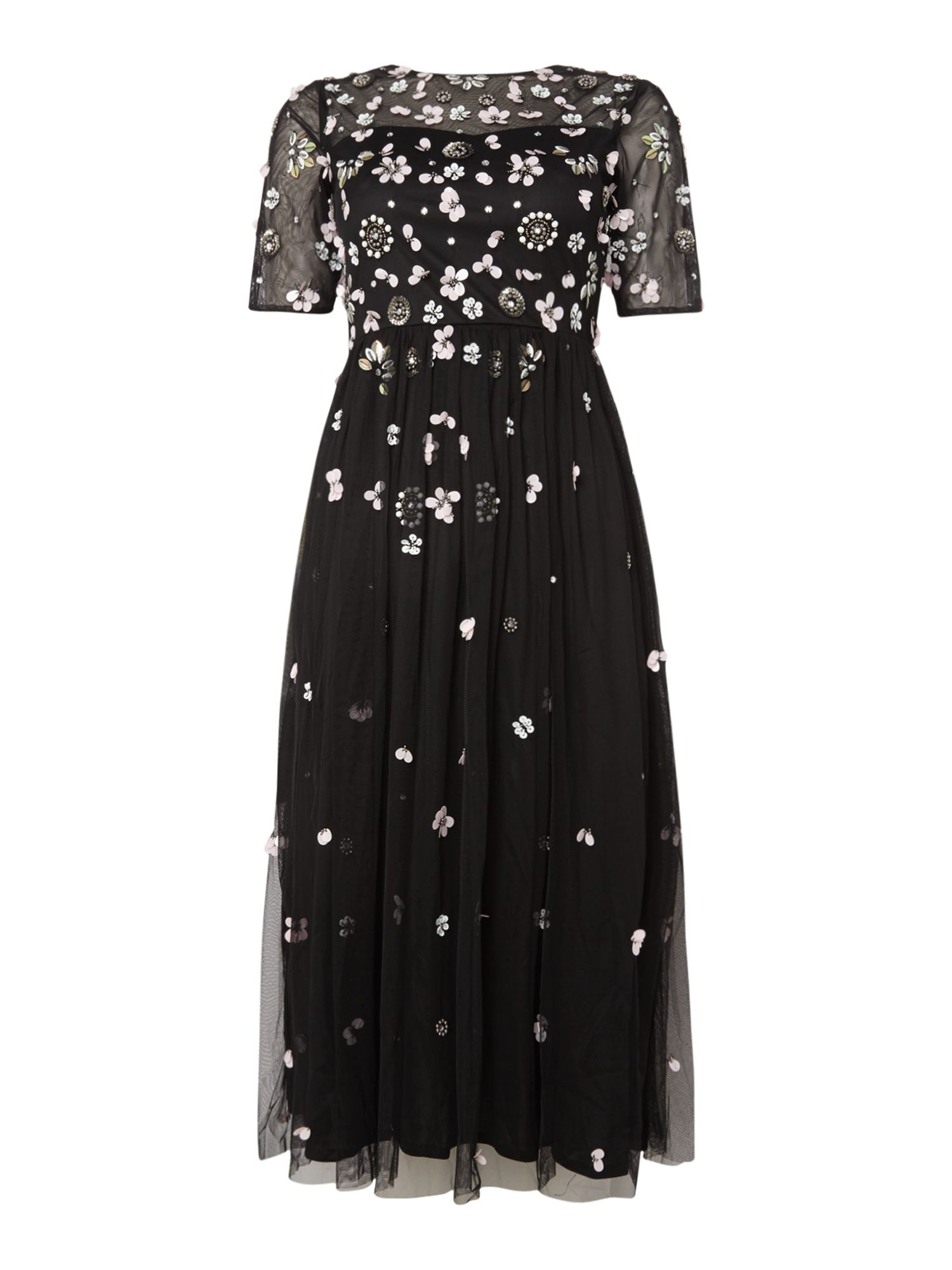 Lace and Beads Sleeveless embellished maxi dress, Black
