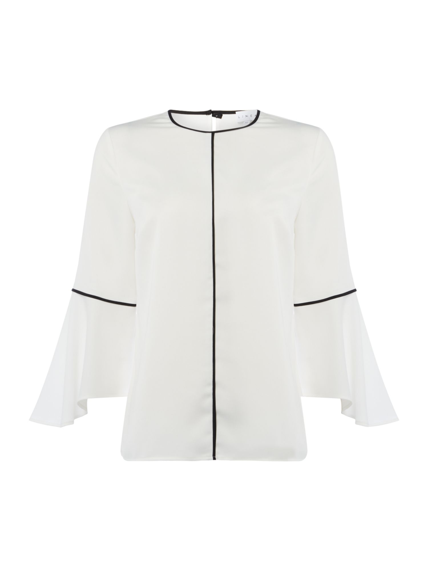 Linea Zola contrast piping flute sleeve blouse, White