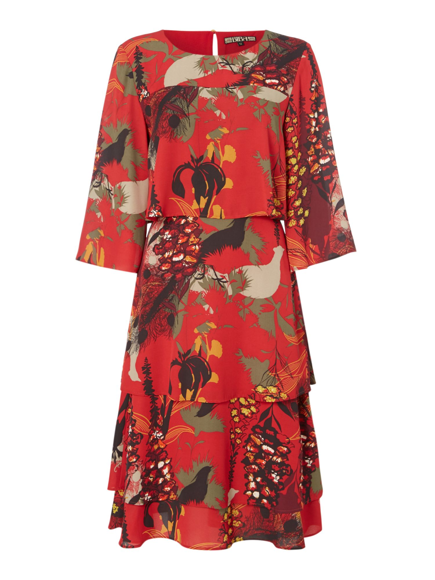 Biba Printed frill layered dress, Multi-Coloured