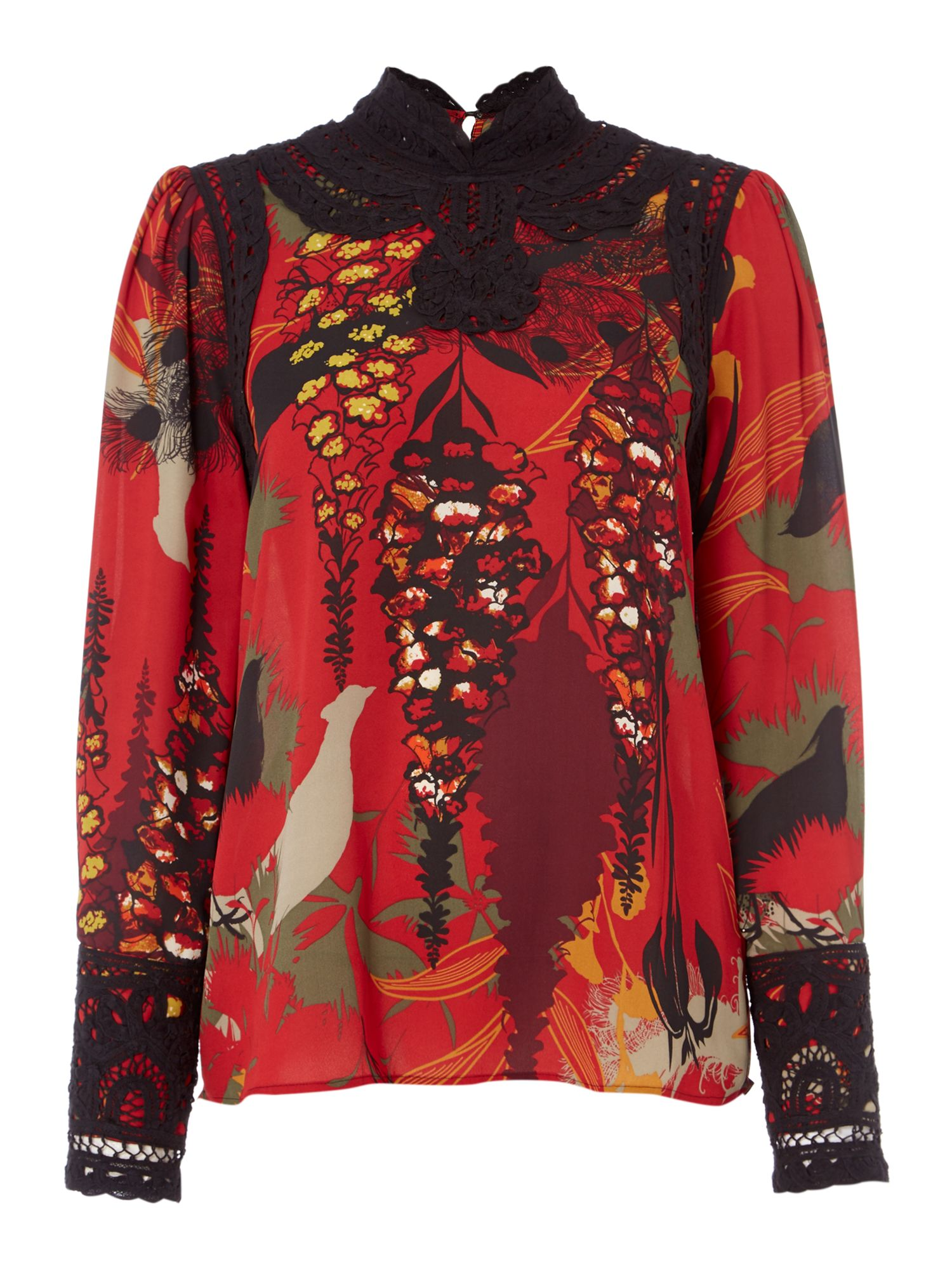 Biba Printed victoriana blouse, Multi-Coloured