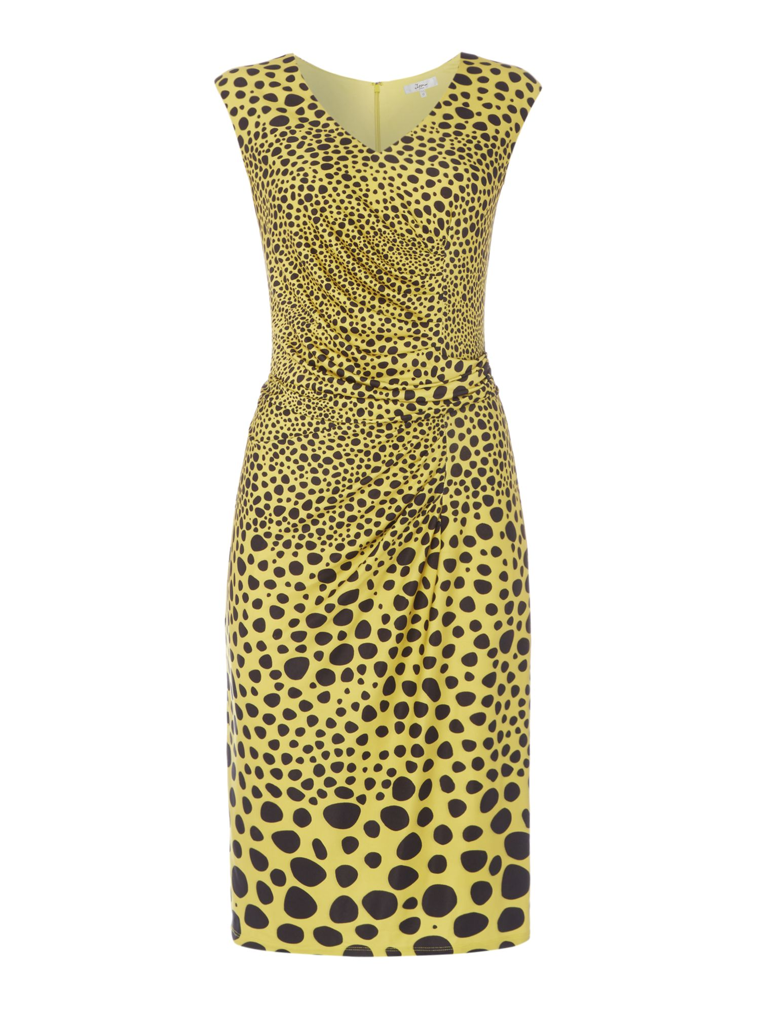 ISSA Charlotte Printed Ruch Detail Dress, Yellow