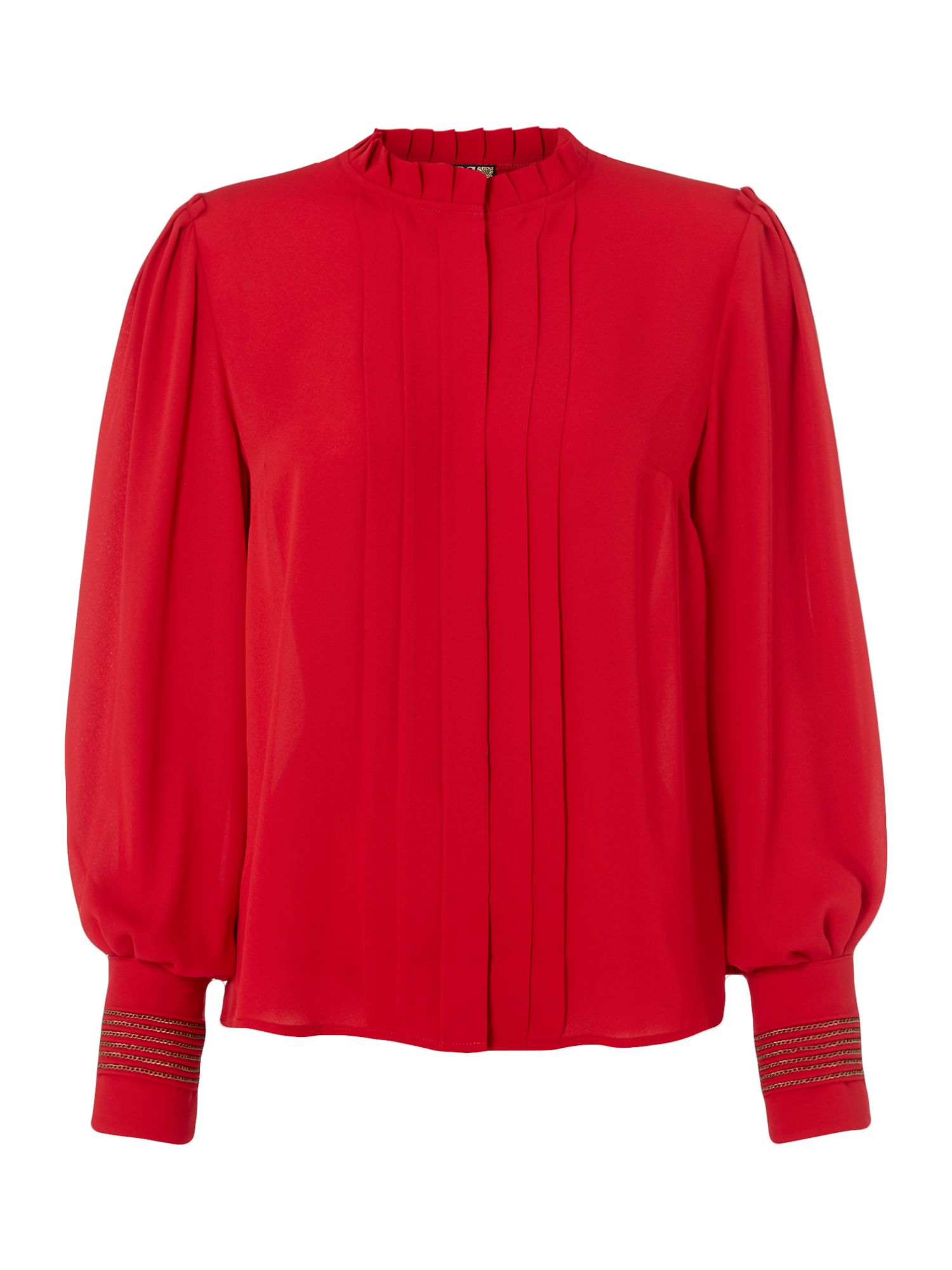 Biba Piecrust plain pleat detail blouse, Red