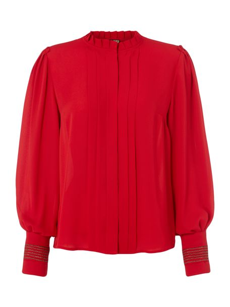 Biba Piecrust Plain Pleat Detail Blouse