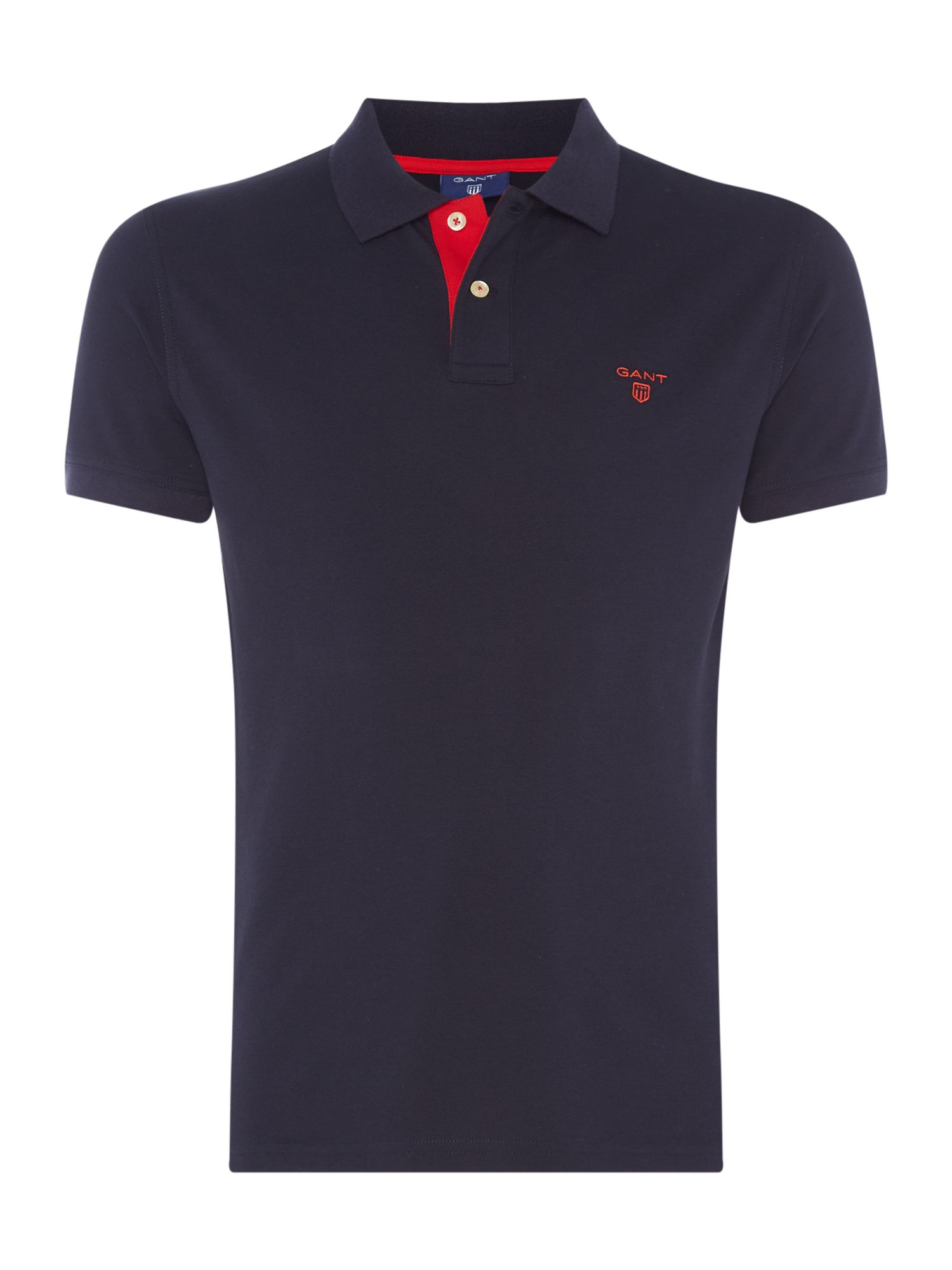 Men's Gant Contrast Collar Polo Shirt, Dark Blue