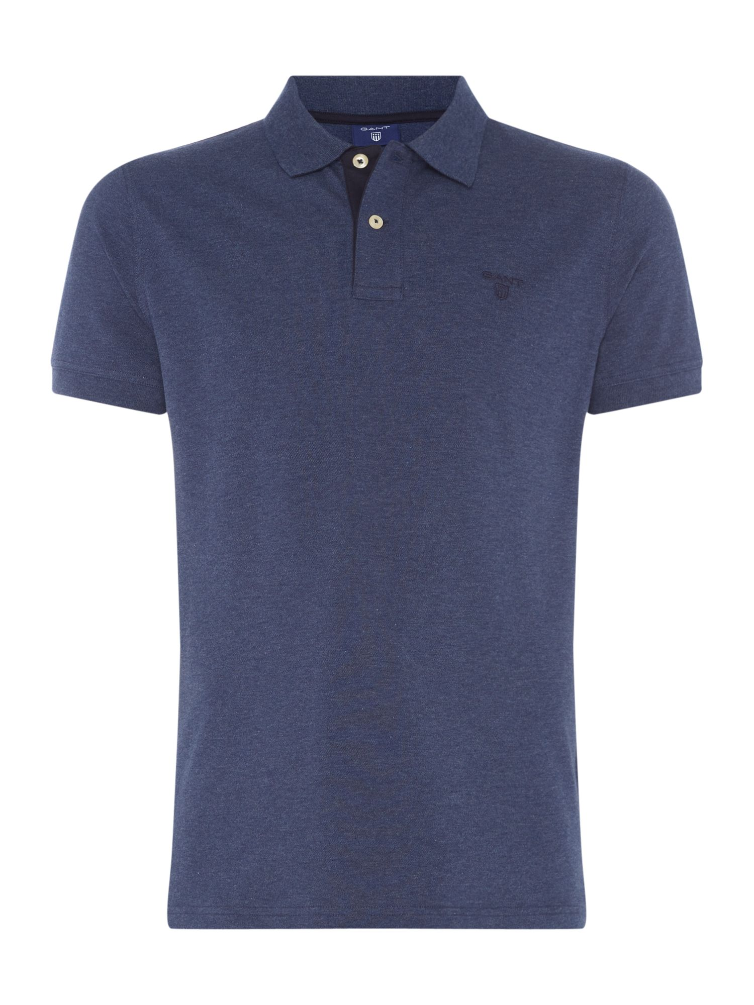 Men's Gant Contrast Collar Polo Shirt, Indigo Marl