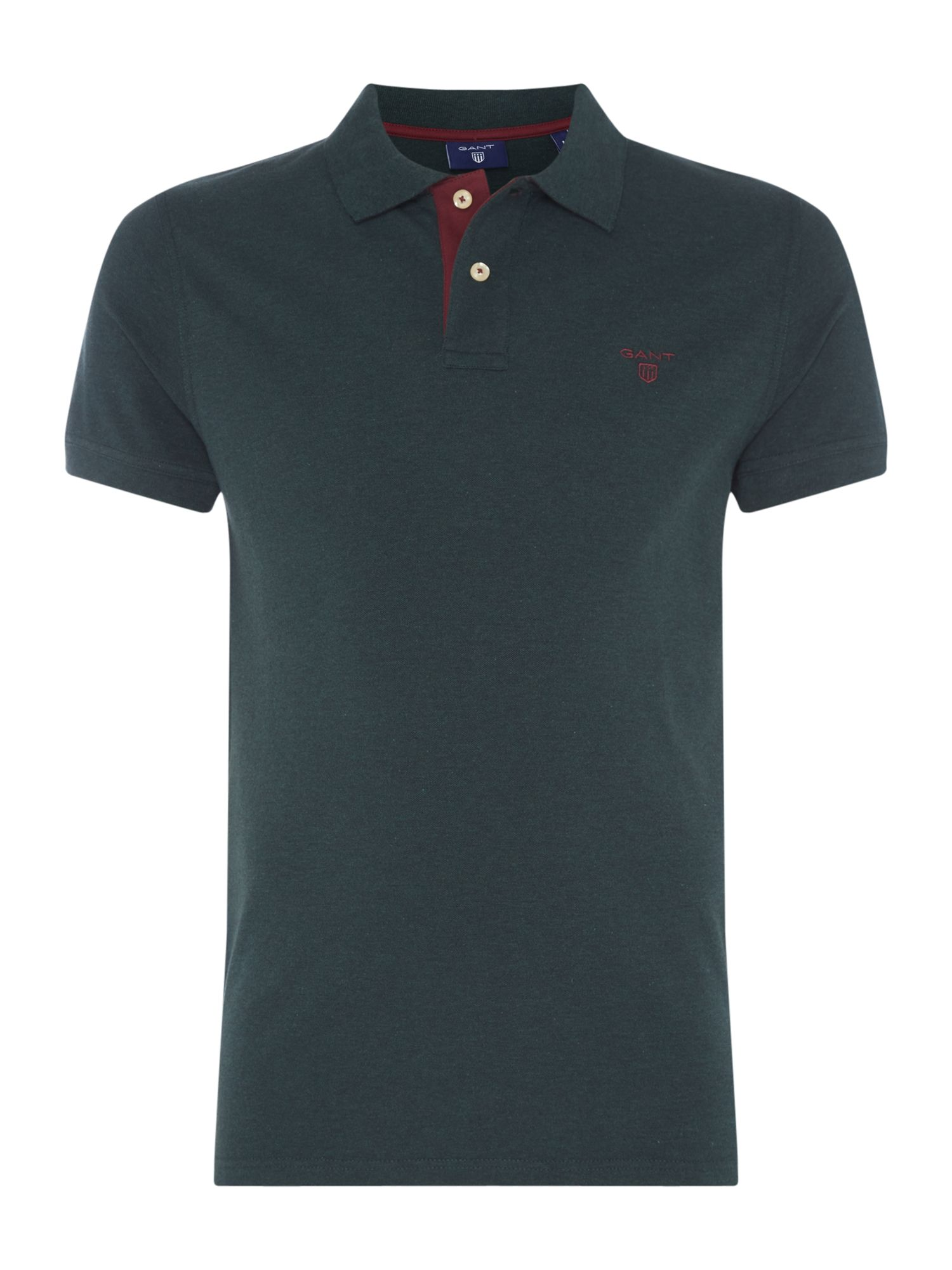 Men's Gant Contrast Collar Polo Shirt, Dark Green
