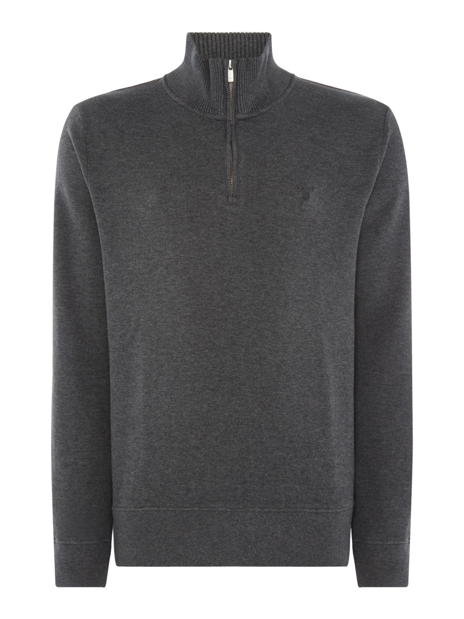 Men's Gant Sacker Rib Half Zip Sweat, Charcoal
