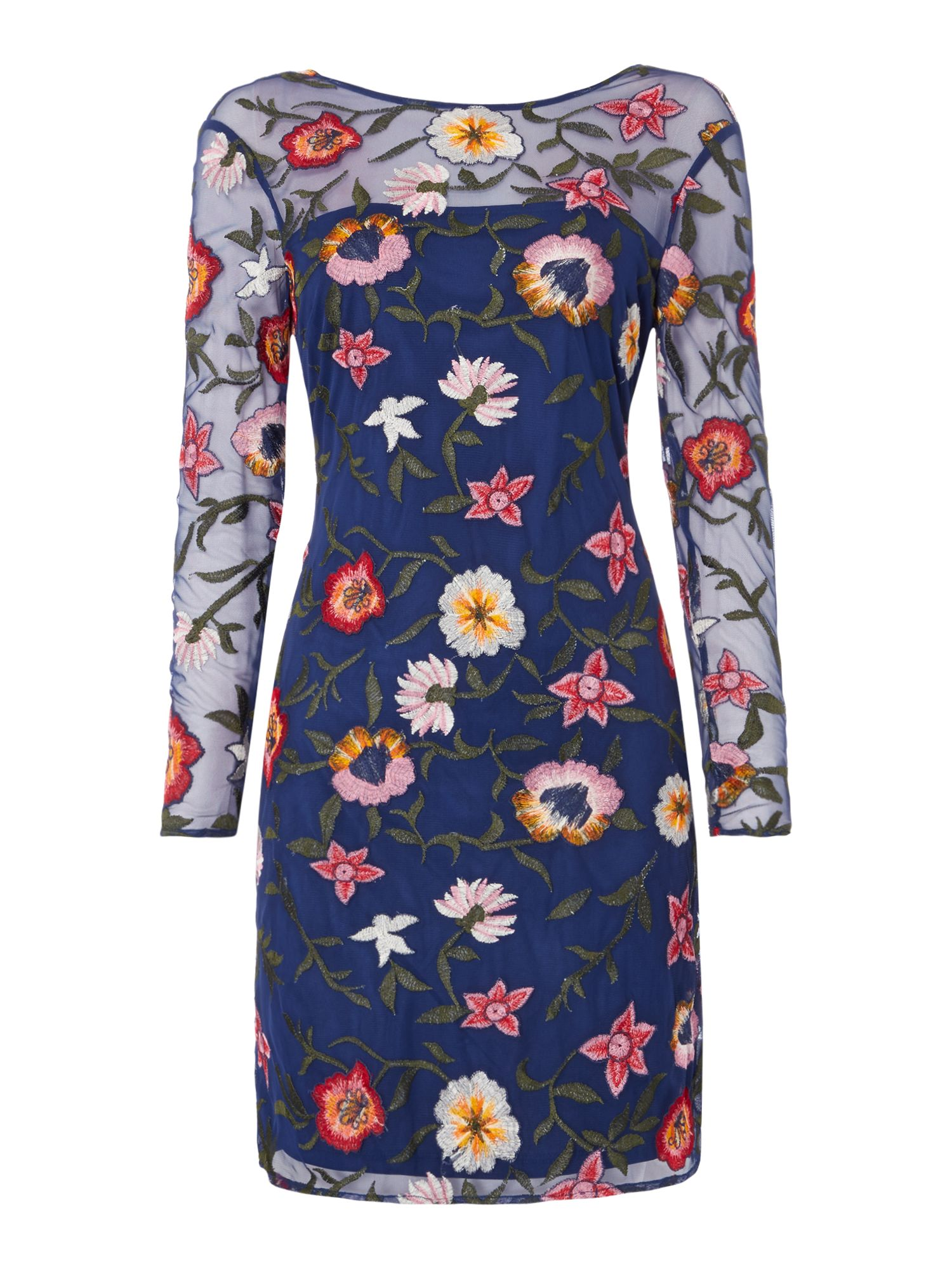 Frock and Frill Long sleeved embroidered shift dress, Blue
